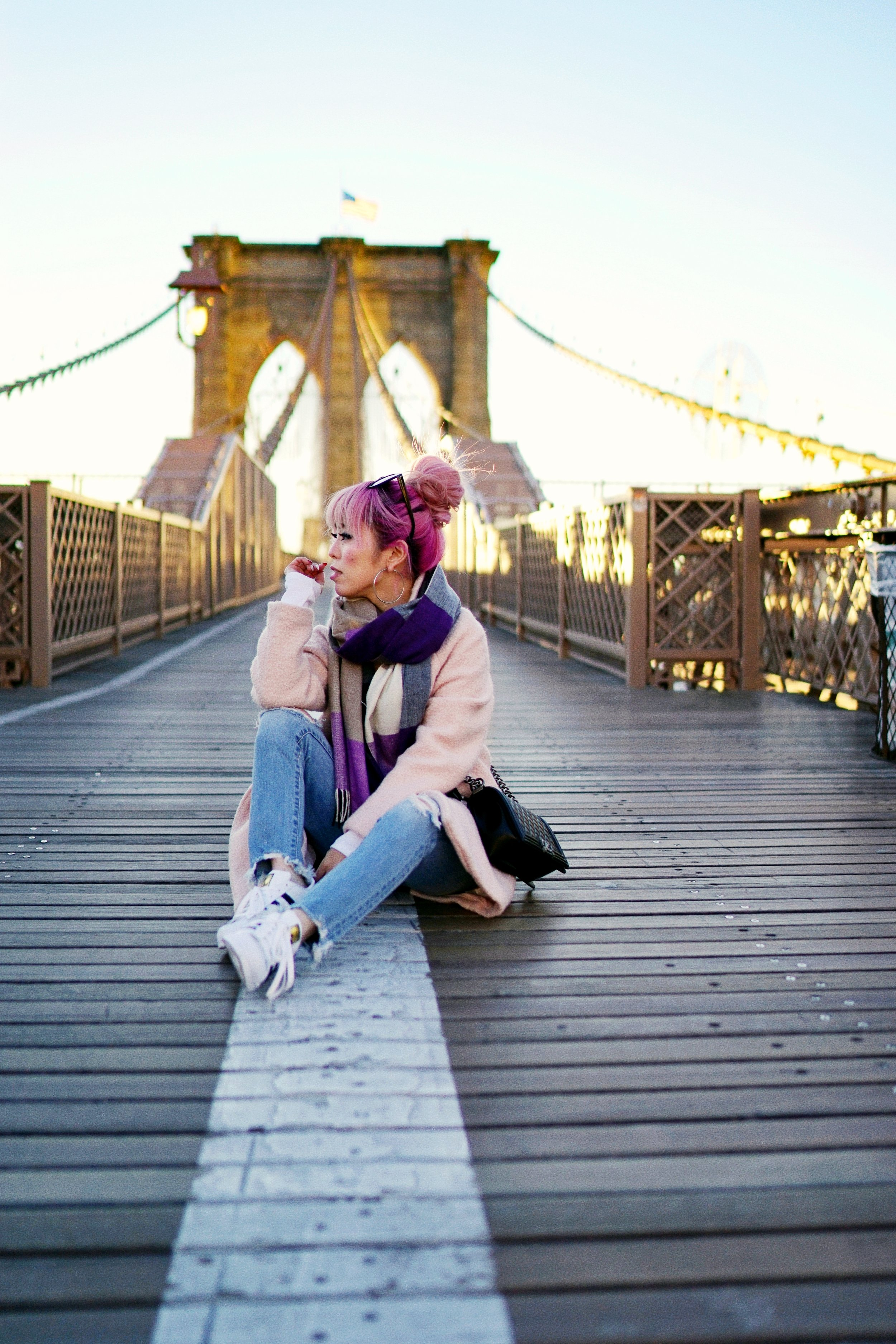 GAP Scarf-Zara pink coat-MOUSSY- frayed hem jeans- CHANEL Lambskin Quilted Medium Boy Flap Black-Adidas Superstar Shoes-Urban Outfitters Sunglasses-Aika's Love Closet-Sealtle fashion style blogger from japan-pink hair-brooklyn bridge-new york-city 7
