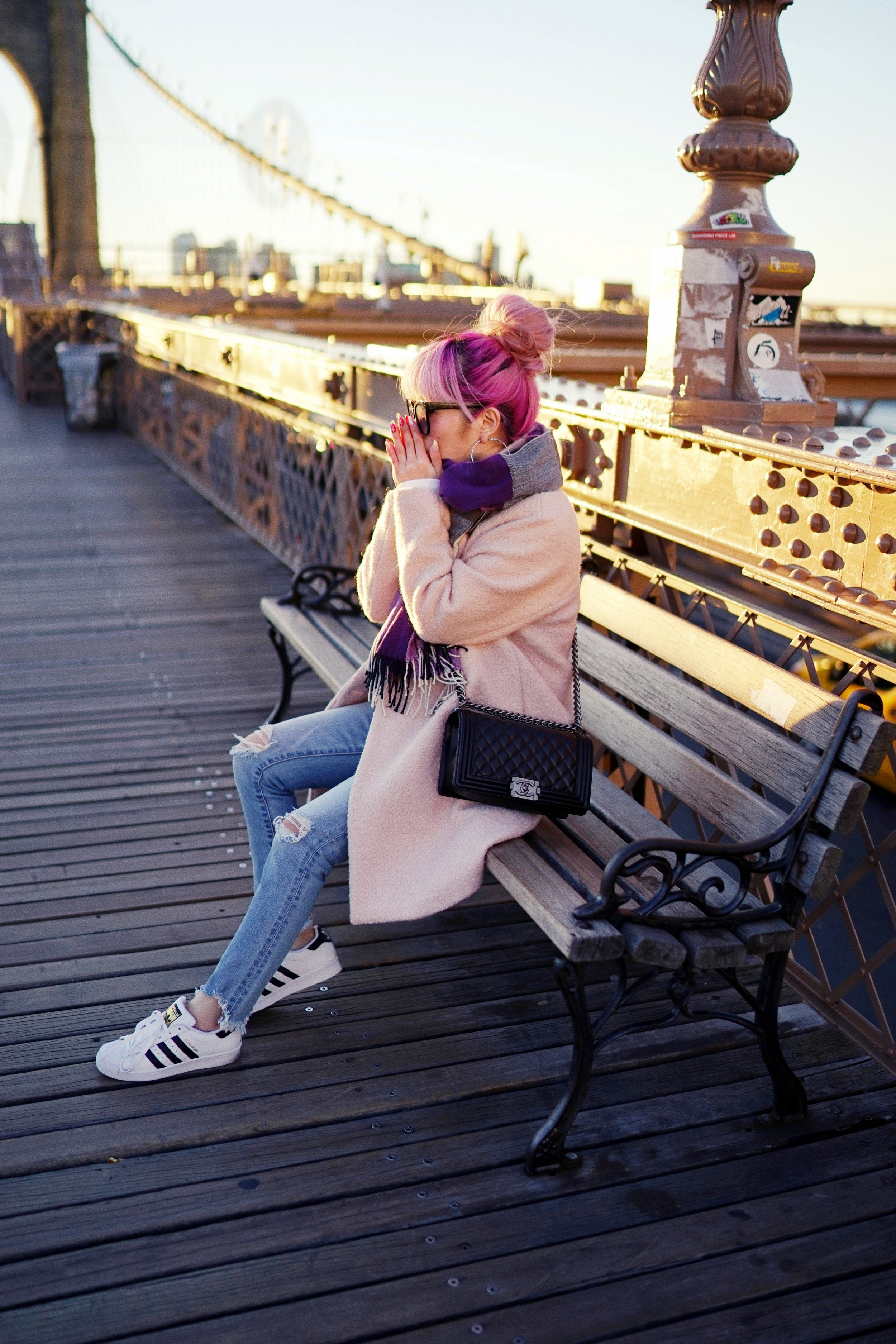 GAP Scarf-Zara pink coat-MOUSSY- frayed hem jeans- CHANEL Lambskin Quilted Medium Boy Flap Black-Adidas Superstar Shoes-Urban Outfitters Sunglasses-Aika's Love Closet-Sealtle fashion style blogger from japan-pink hair-brooklyn bridge-new york-city 9