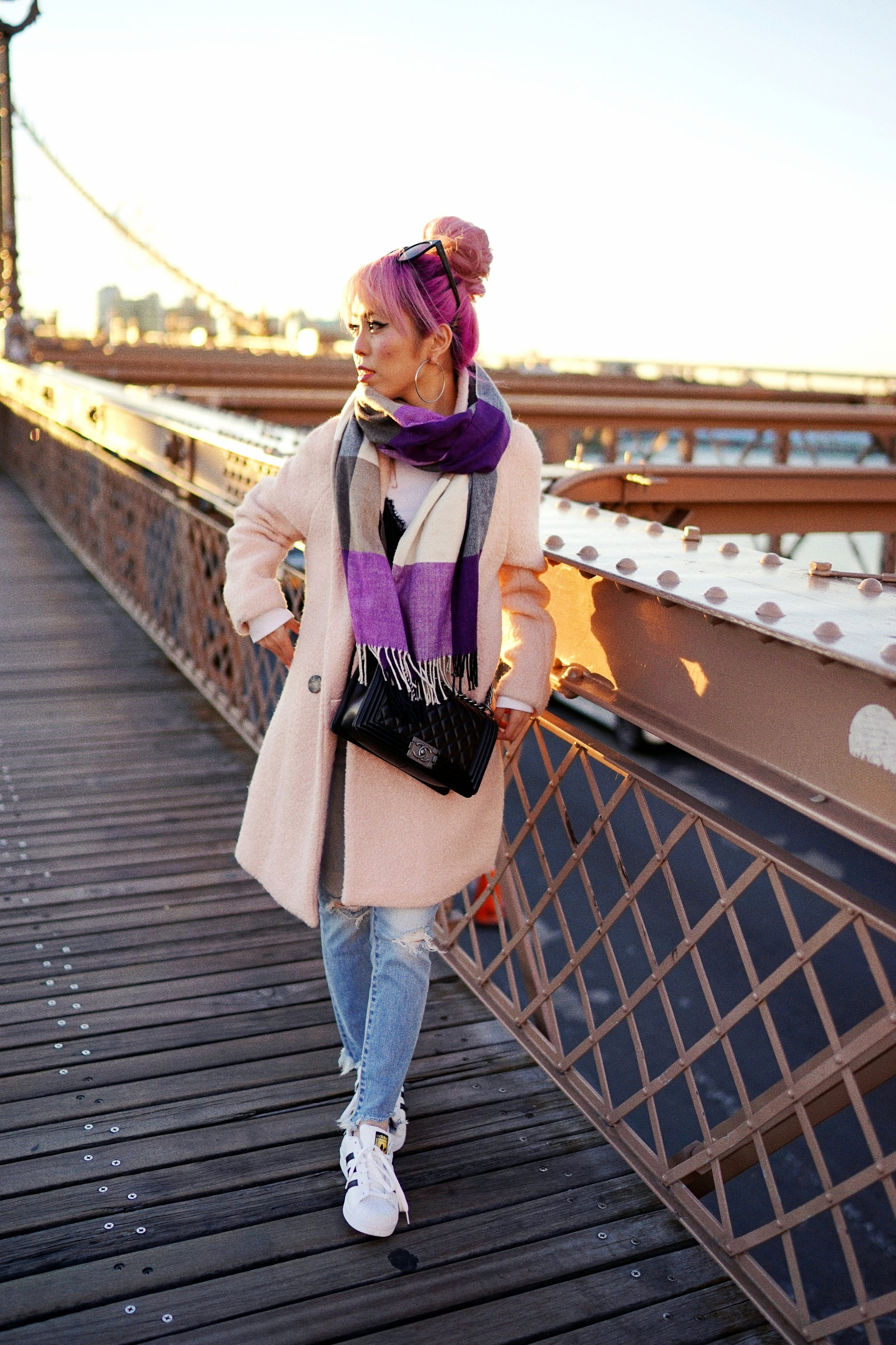 GAP Scarf-Zara pink coat-MOUSSY- frayed hem jeans- CHANEL Lambskin Quilted Medium Boy Flap Black-Adidas Superstar Shoes-Urban Outfitters Sunglasses-Aika's Love Closet-Sealtle fashion style blogger from japan-pink hair-brooklyn bridge-new york-city 10