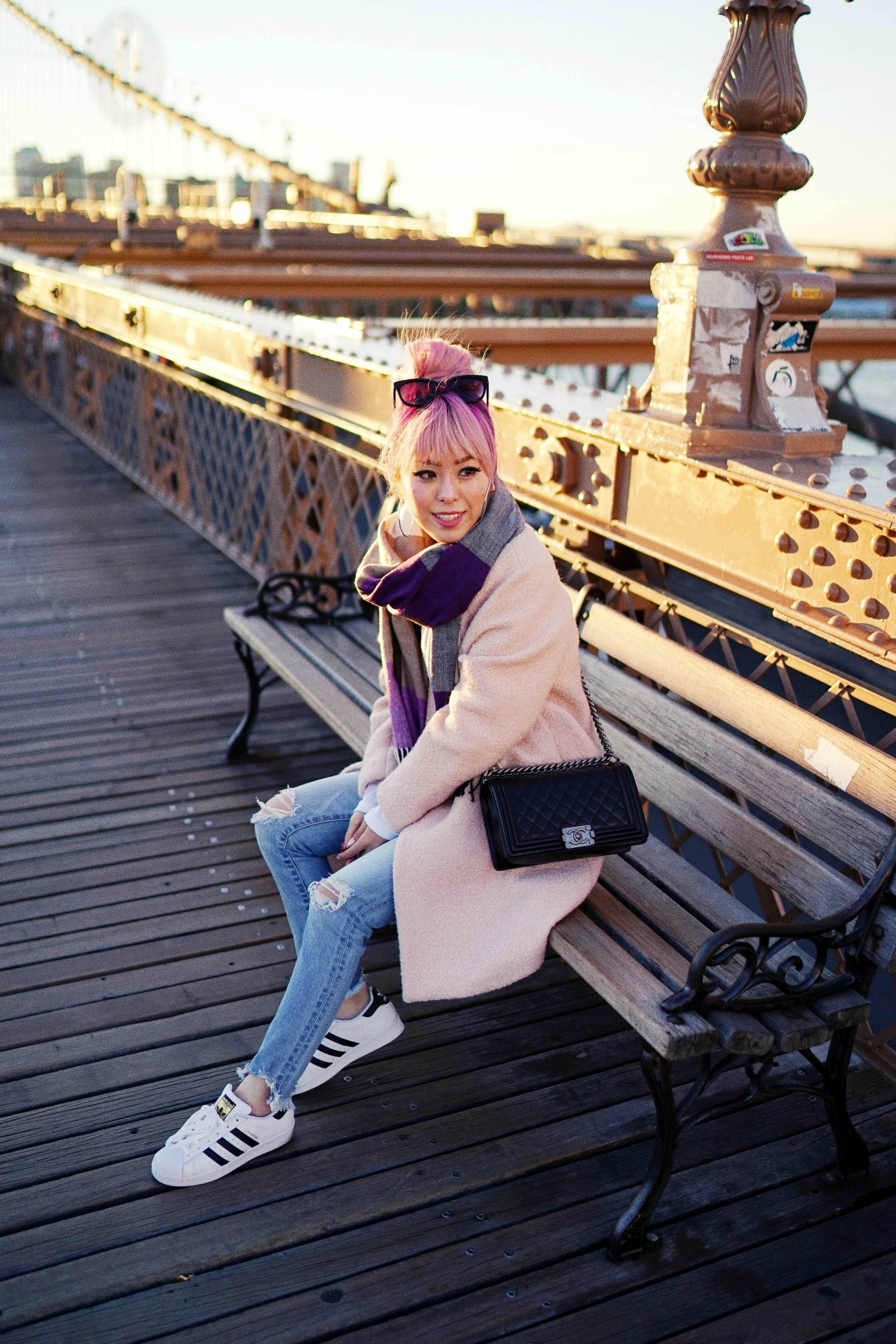 GAP Scarf-Zara pink coat-MOUSSY- frayed hem jeans- CHANEL Lambskin Quilted Medium Boy Flap Black-Adidas Superstar Shoes-Urban Outfitters Sunglasses-Aika's Love Closet-Sealtle fashion style blogger from japan-pink hair-brooklyn bridge-new york-city 14