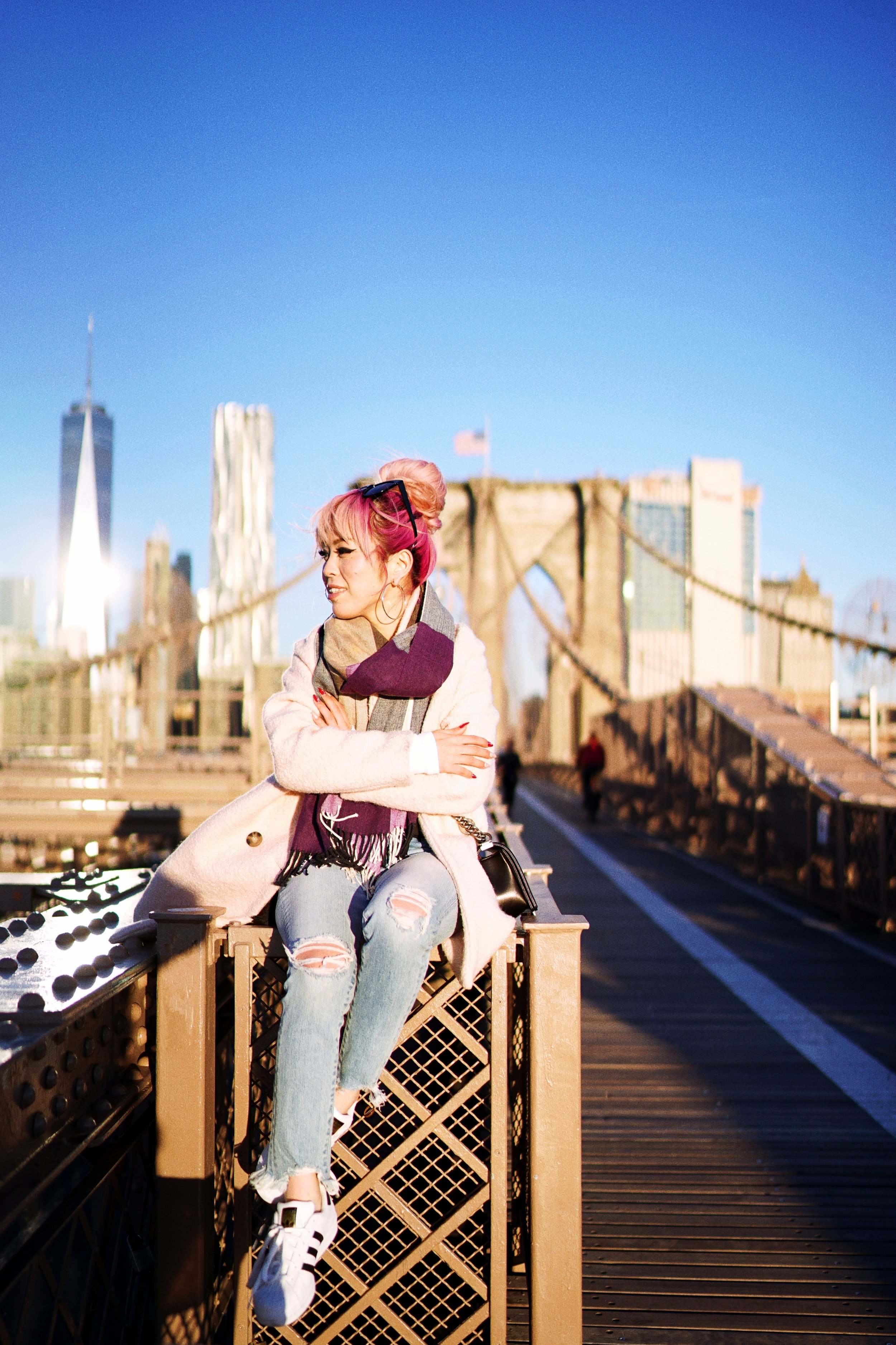 GAP Scarf-Zara pink coat-MOUSSY- frayed hem jeans- CHANEL Lambskin Quilted Medium Boy Flap Black-Adidas Superstar Shoes-Urban Outfitters Sunglasses-Aika's Love Closet-Sealtle fashion style blogger from japan-pink hair-brooklyn bridge-new york-city 16