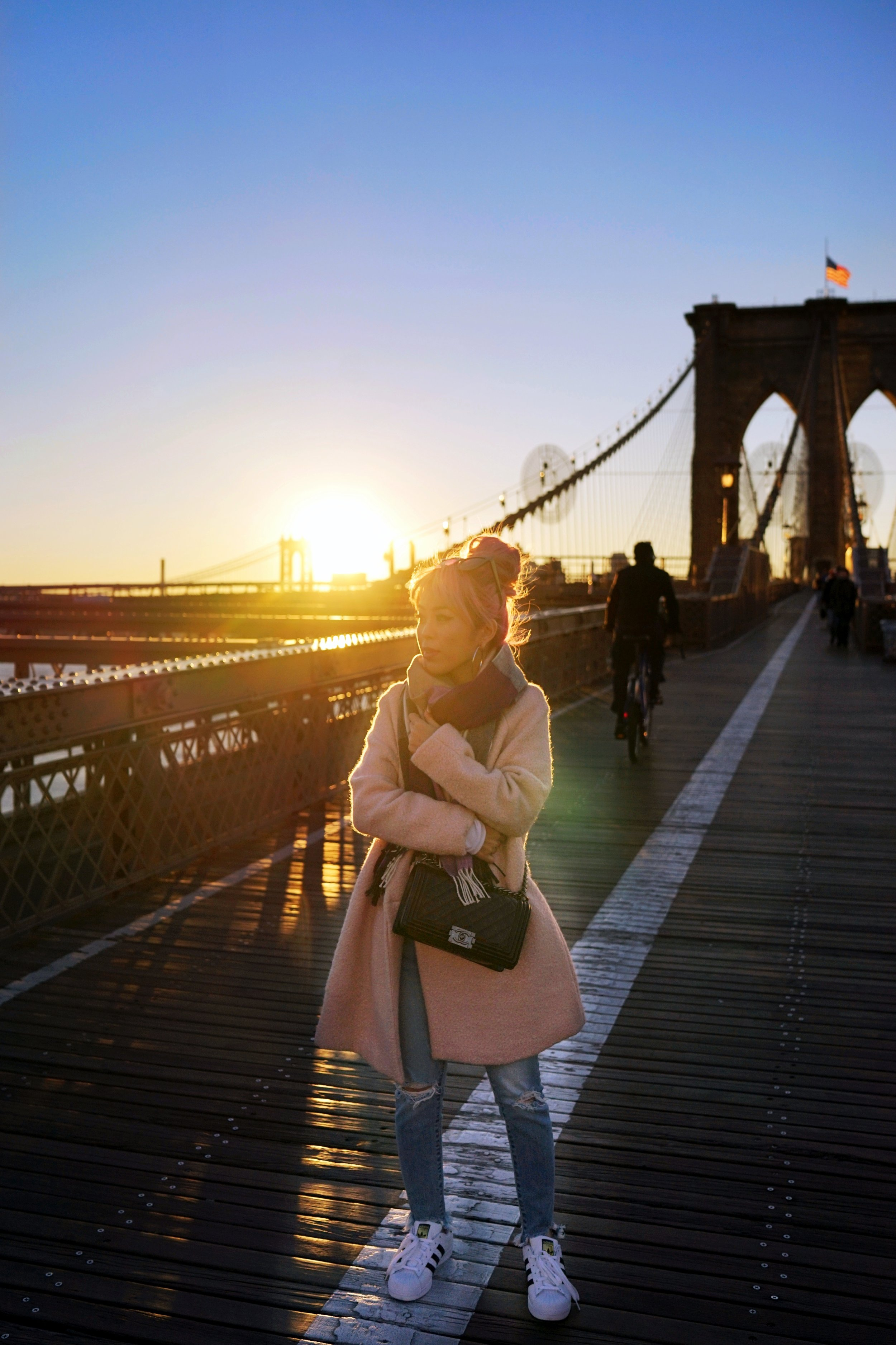GAP Scarf-Zara pink coat-MOUSSY- frayed hem jeans- CHANEL Lambskin Quilted Medium Boy Flap Black-Adidas Superstar Shoes-Urban Outfitters Sunglasses-Aika's Love Closet-Sealtle fashion style blogger from japan-pink hair-brooklyn bridge-new york-city 18