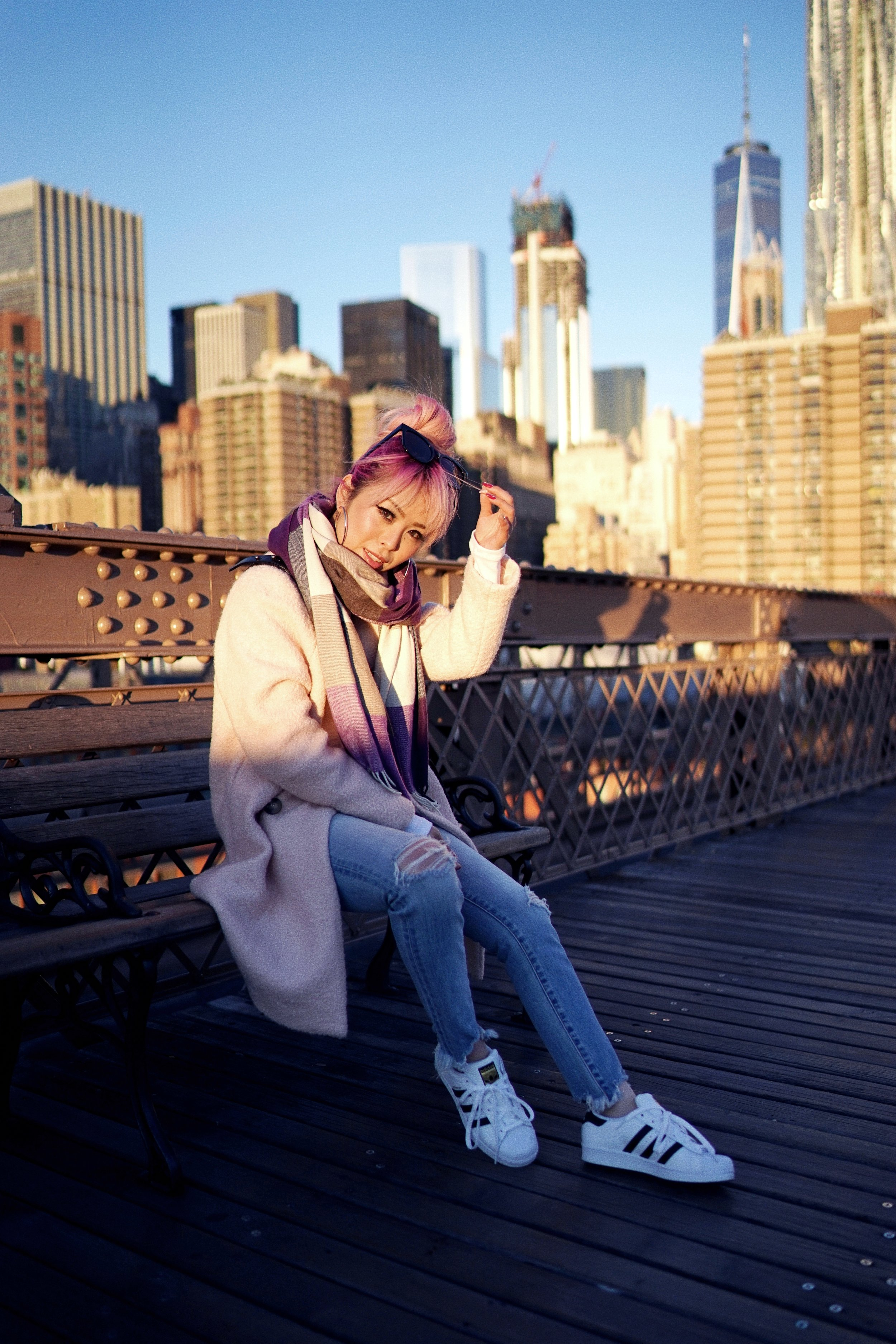 GAP Scarf-Zara pink coat-MOUSSY- frayed hem jeans- CHANEL Lambskin Quilted Medium Boy Flap Black-Adidas Superstar Shoes-Urban Outfitters Sunglasses-Aika's Love Closet-Sealtle fashion style blogger from japan-pink hair-brooklyn bridge-new york-city 20