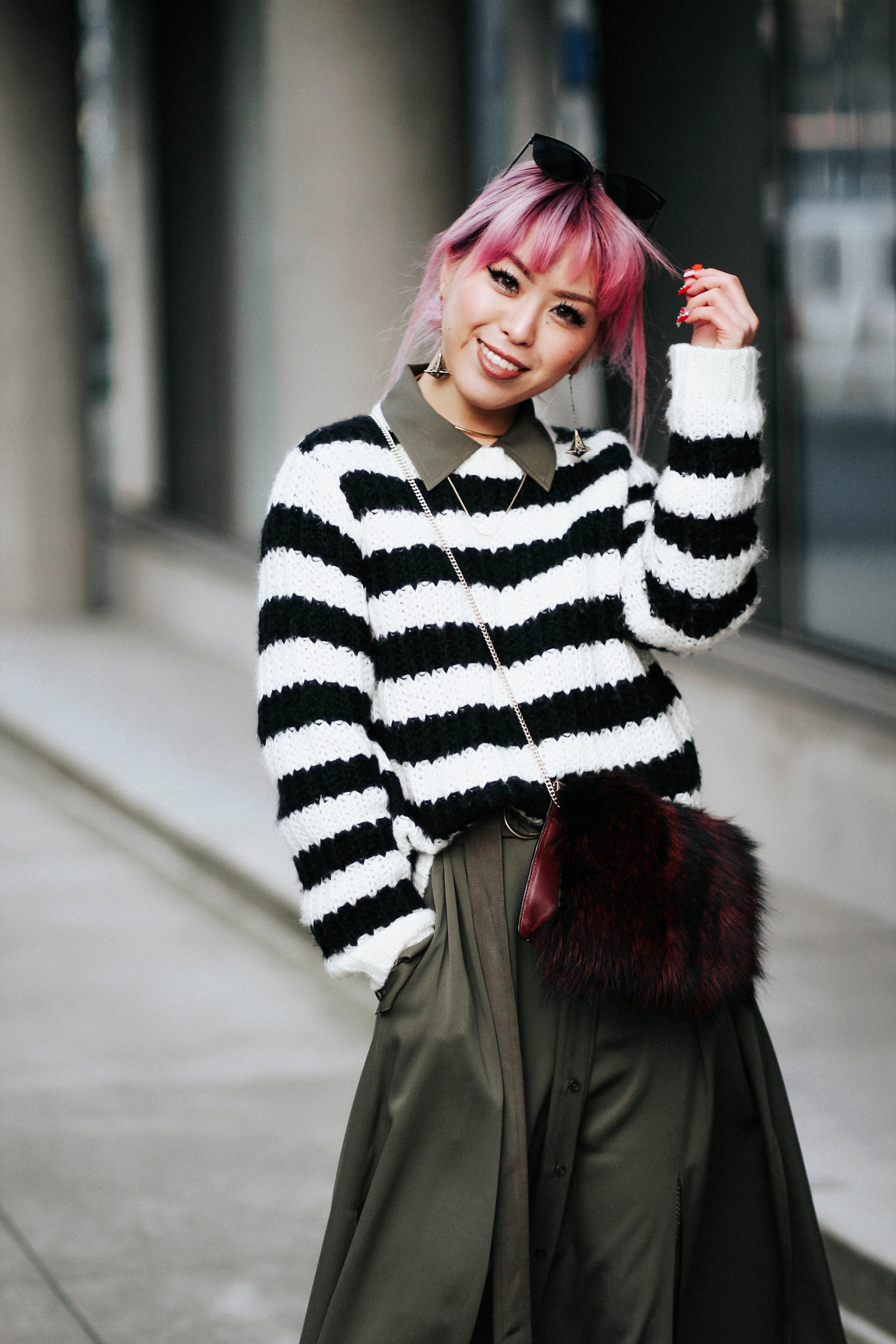 Who What Wear Striped Sweater_DVF Clarise Midi Shirt Dress_DVF Fur Bag_Kendra Scott Diana Shoulder Duster Earrings In Antique Brass_Amazon Fishnet Tights_ZARA ASYMMETRIC LEATHER HIGH HEEL SHOES_Aikas Love Closet_Seattle Fashion Blogger_japanese_Pink Hair 8