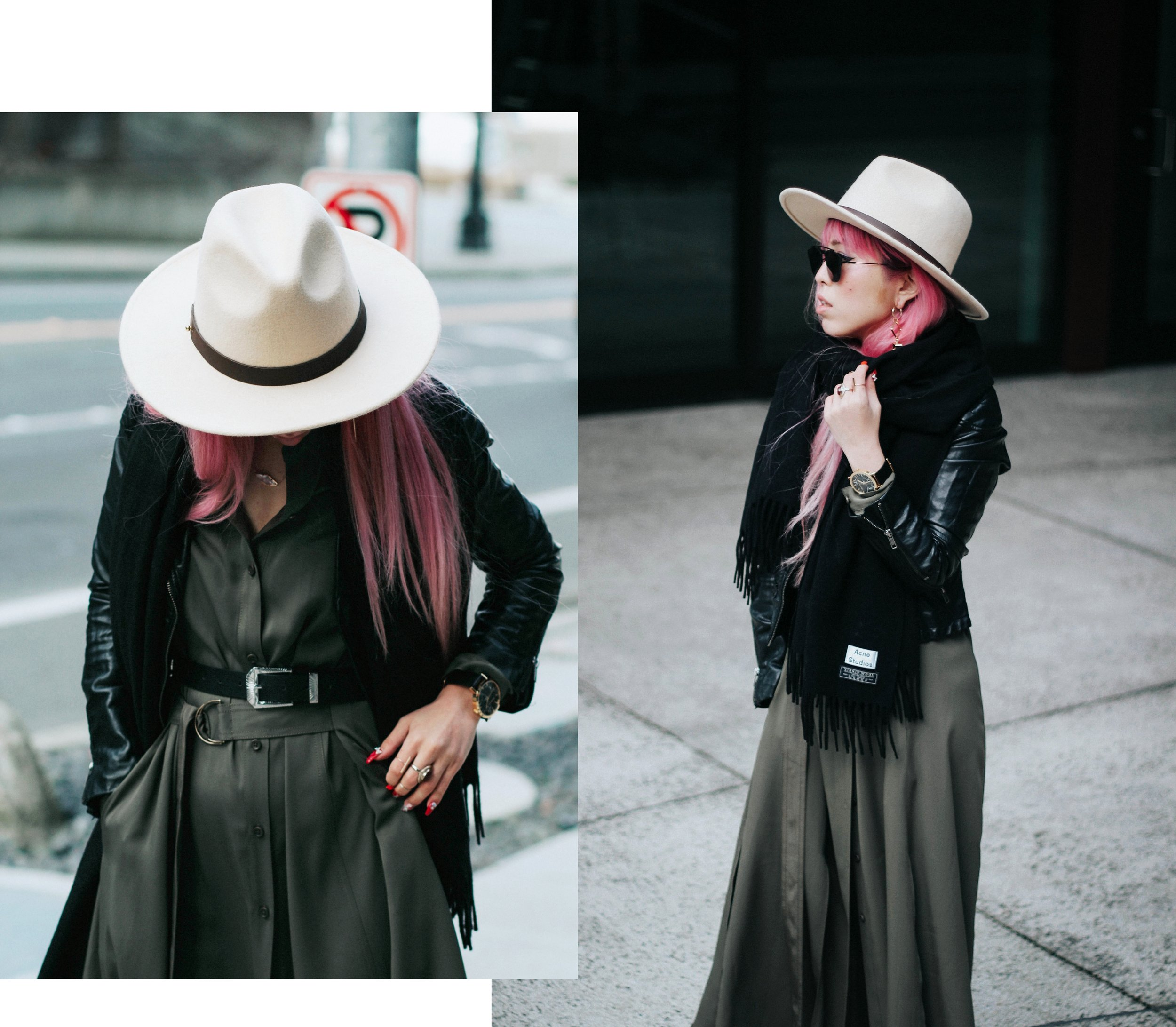 Acne Studios Black Canada Narrow Scarf-Lack Of Color Fedora-H&M biker Jacket-DVF silk shirt dress-ASOS western belt-zara statement bag-ASOS western mule-Aikas love closet-pink hair-seattle fashion lifestyle blogger-japanese 13