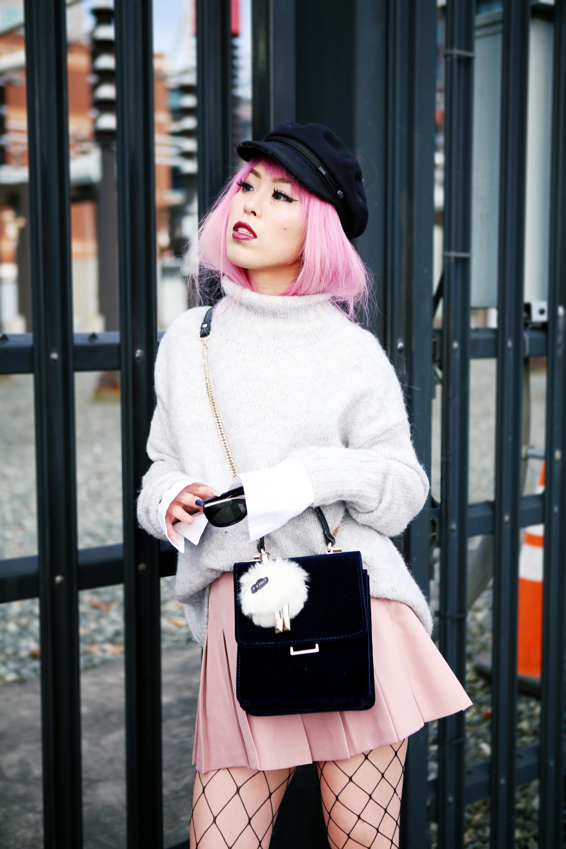 Isabel Marant News Boy Hat-H&M Gray Turtleneck Sweater-H&M Wide cuff Cotton Shirt-Forever 21 Pleated Mini Skirt-Boohoo Wide Fishnet Tights-ZARA Velvet Bag-ALDO Patent Booties-Le Specs Air Heart Sunglasses-Milani Black Cherry Lipstick-Aikas Love Closet-Seattle Style Lifestyle Blogger-japanese-pink hair 4