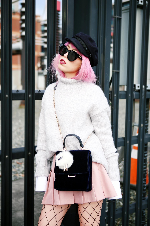 Isabel Marant News Boy Hat-H&M Gray Turtleneck Sweater-H&M Wide cuff Cotton Shirt-Forever 21 Pleated Mini Skirt-Boohoo Wide Fishnet Tights-ZARA Velvet Bag-ALDO Patent Booties-Le Specs Air Heart Sunglasses-Milani Black Cherry Lipstick-Aikas Love Closet-Seattle Style Lifestyle Blogger-japanese-pink hair 5