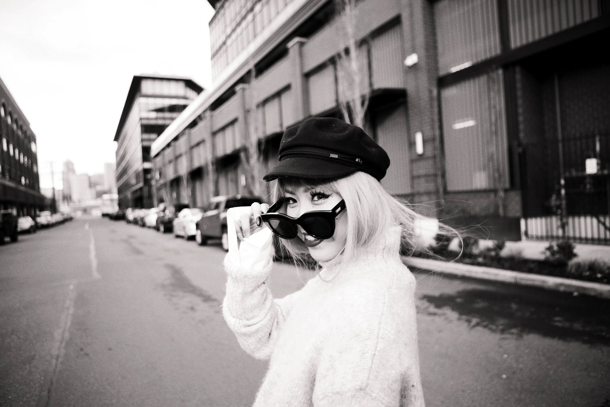 Isabel Marant News Boy Hat-H&M Gray Turtleneck Sweater-H&M Wide cuff Cotton Shirt-Forever 21 Pleated Mini Skirt-Boohoo Wide Fishnet Tights-ZARA Velvet Bag-ALDO Patent Booties-Le Specs Air Heart Sunglasses-Milani Black Cherry Lipstick-Aikas Love Closet-Seattle Style Lifestyle Blogger-japanese-pink hair 11