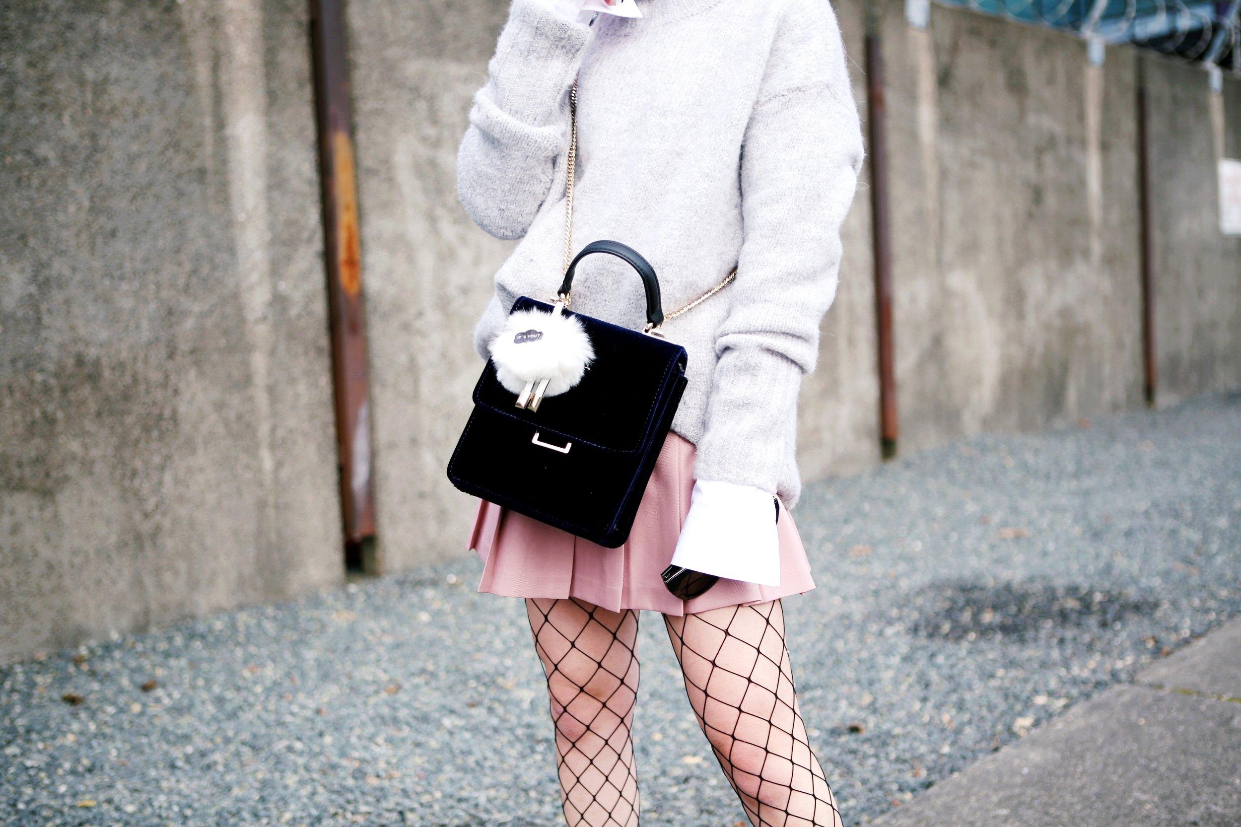 Isabel Marant News Boy Hat-H&M Gray Turtleneck Sweater-H&M Wide cuff Cotton Shirt-Forever 21 Pleated Mini Skirt-Boohoo Wide Fishnet Tights-ZARA Velvet Bag-ALDO Patent Booties-Le Specs Air Heart Sunglasses-Milani Black Cherry Lipstick-Aikas Love Closet-Seattle Style Lifestyle Blogger-japanese-pink hair 12
