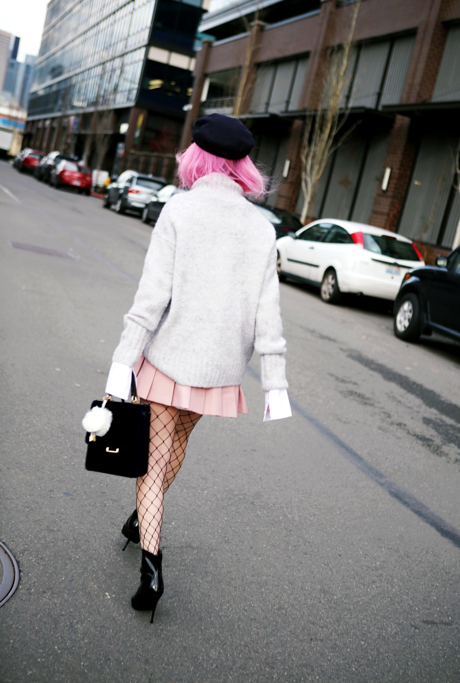 Isabel Marant News Boy Hat-H&M Gray Turtleneck Sweater-H&M Wide cuff Cotton Shirt-Forever 21 Pleated Mini Skirt-Boohoo Wide Fishnet Tights-ZARA Velvet Bag-ALDO Patent Booties-Le Specs Air Heart Sunglasses-Milani Black Cherry Lipstick-Aikas Love Closet-Seattle Style Lifestyle Blogger-japanese-pink hair 16