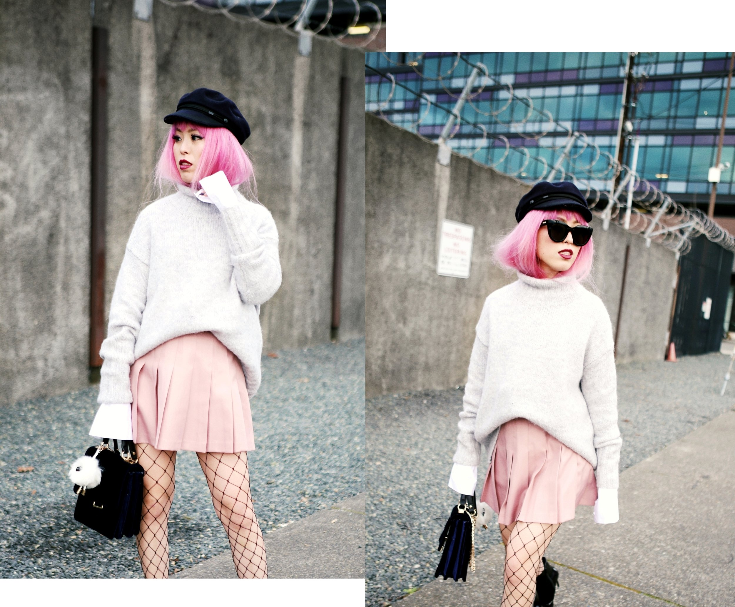 Isabel Marant News Boy Hat-H&M Gray Turtleneck Sweater-H&M Wide cuff Cotton Shirt-Forever 21 Pleated Mini Skirt-Boohoo Wide Fishnet Tights-ZARA Velvet Bag-ALDO Patent Booties-Le Specs Air Heart Sunglasses-Milani Black Cherry Lipstick-Aikas Love Closet-Seattle Style Lifestyle Blogger-japanese-pink hair 18
