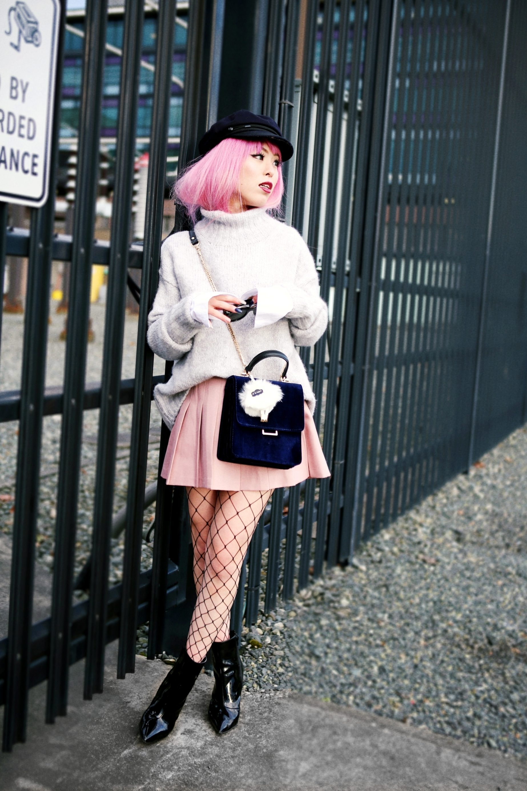Isabel Marant News Boy Hat-H&M Gray Turtleneck Sweater-H&M Wide cuff Cotton Shirt-Forever 21 Pleated Mini Skirt-Boohoo Wide Fishnet Tights-ZARA Velvet Bag-ALDO Patent Booties-Le Specs Air Heart Sunglasses-Milani Black Cherry Lipstick-Aikas Love Closet-Seattle Style Lifestyle Blogger-japanese-pink hair 20