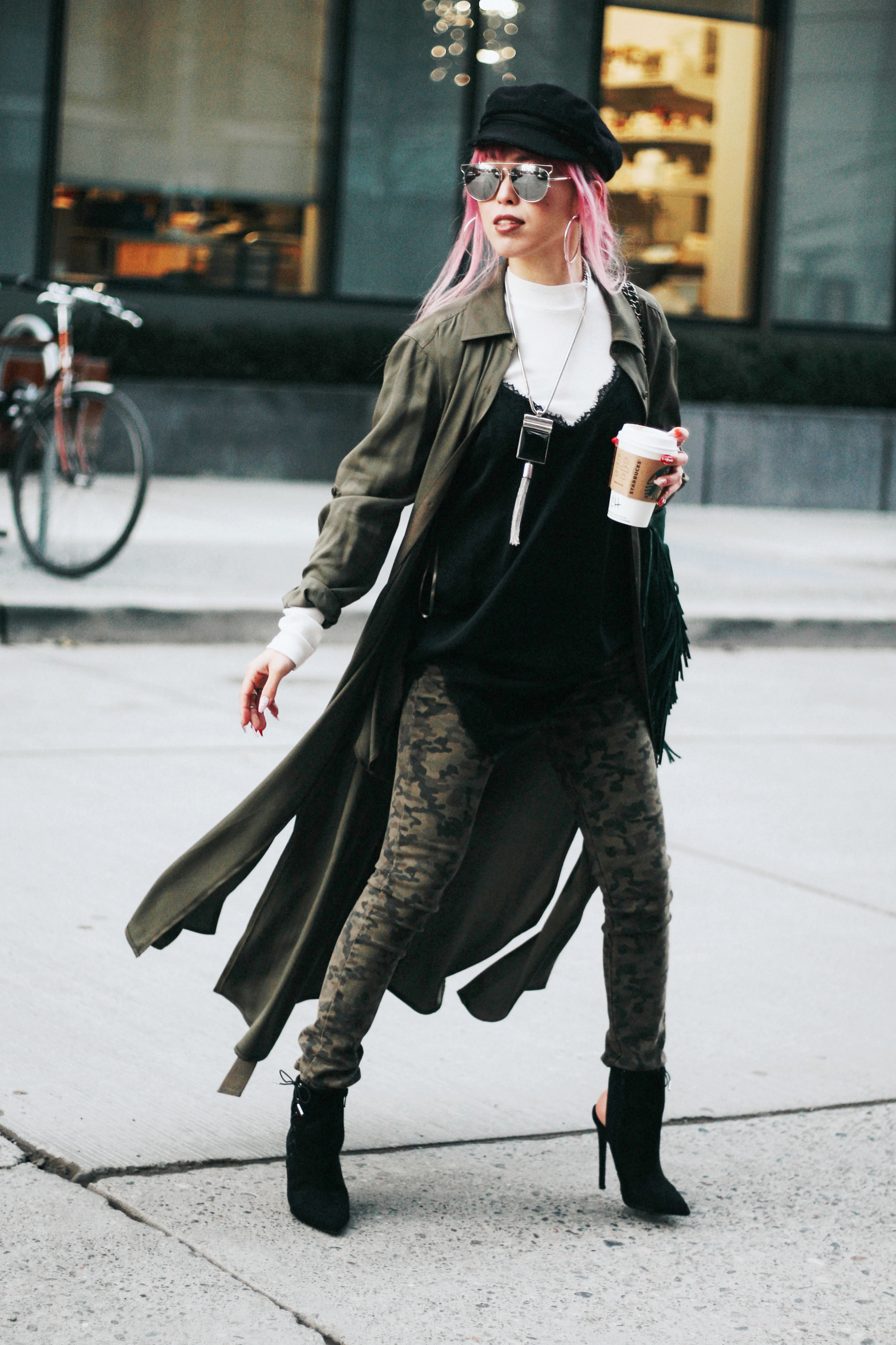 Isabel Marant newsboy hat_Zara Top_Urban Outfitters Slip Dress_Camo Jeans_Free People Mirrored Sunglasses_DVF Silk Shirt Dress_ASOS pointed lace up booties_Aikas Love Closet_Seattle Fashion Style blogger_Japanese_Pink Hair 5