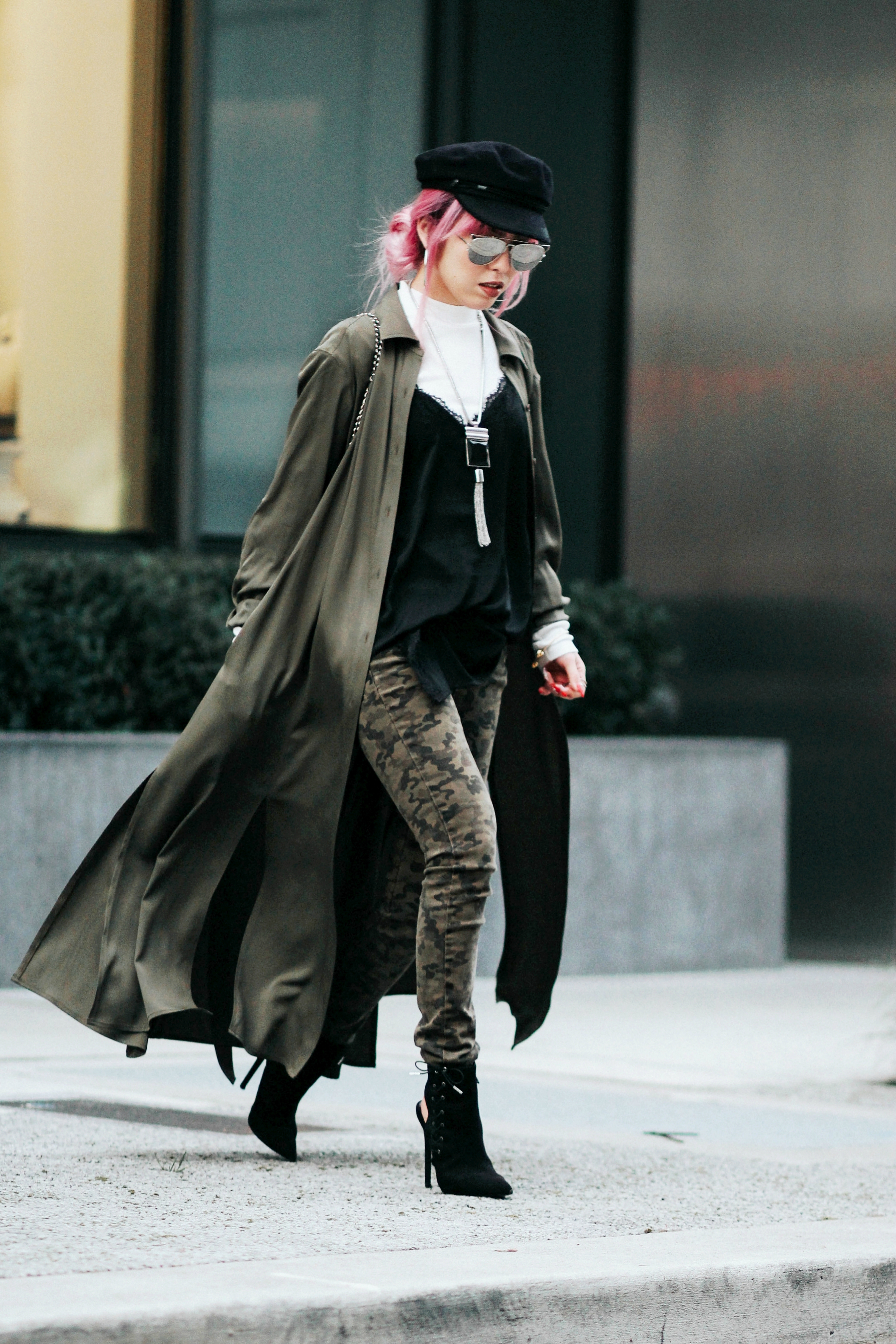 Isabel Marant newsboy hat_Zara Top_Urban Outfitters Slip Dress_Camo Jeans_Free People Mirrored Sunglasses_DVF Silk Shirt Dress_ASOS pointed lace up booties_Aikas Love Closet_Seattle Fashion Style blogger_Japanese_Pink Hair 6