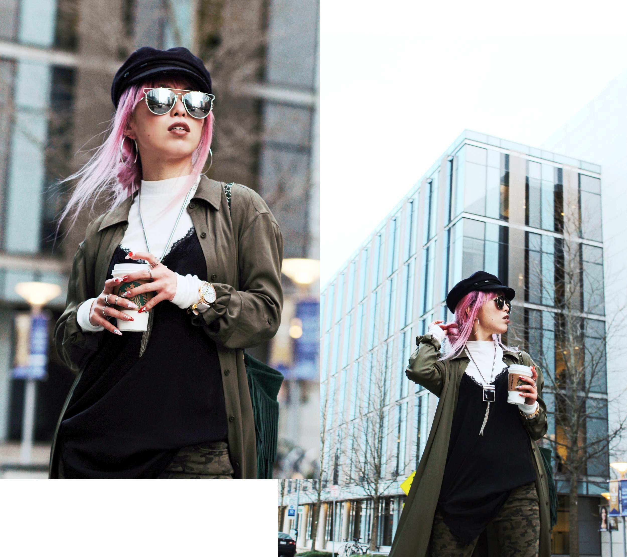 Isabel Marant newsboy hat_Zara Top_Urban Outfitters Slip Dress_Camo Jeans_Free People Mirrored Sunglasses_DVF Silk Shirt Dress_ASOS pointed lace up booties_Aikas Love Closet_Seattle Fashion Style blogger_Japanese_Pink Hair 7