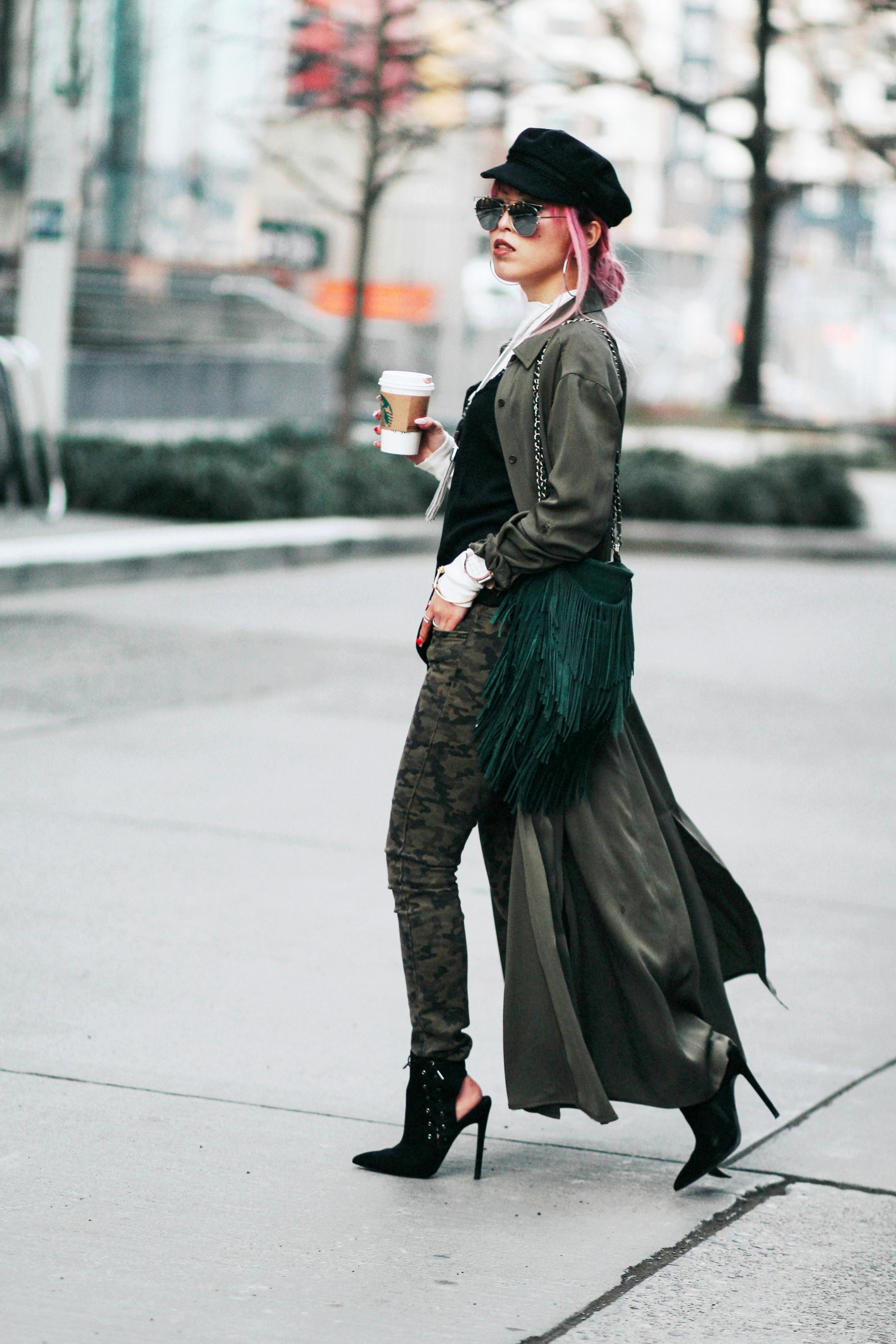 Isabel Marant newsboy hat_Zara Top_Urban Outfitters Slip Dress_Camo Jeans_Free People Mirrored Sunglasses_DVF Silk Shirt Dress_ASOS pointed lace up booties_Aikas Love Closet_Seattle Fashion Style blogger_Japanese_Pink Hair 9