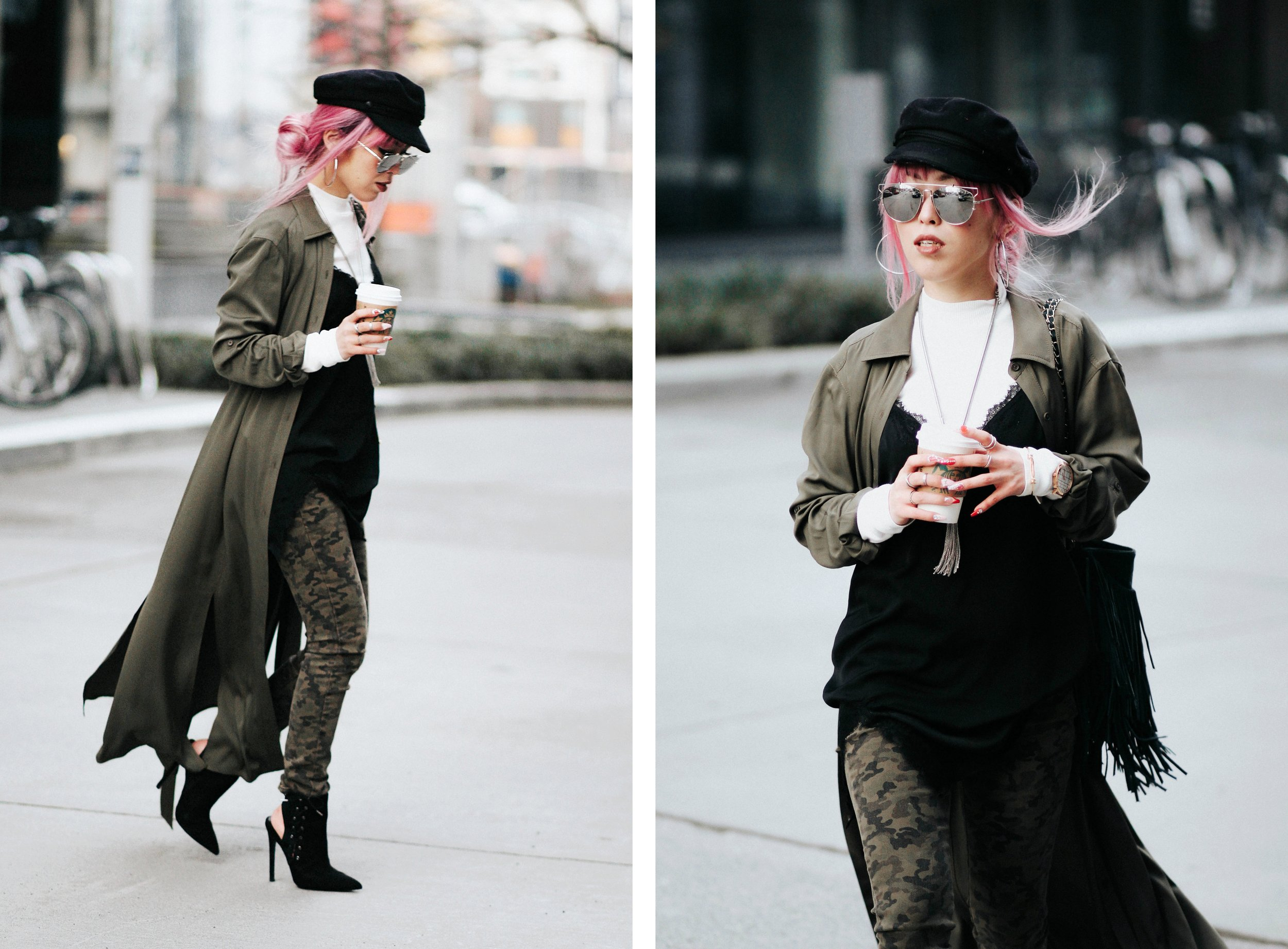 Isabel Marant newsboy hat_Zara Top_Urban Outfitters Slip Dress_Camo Jeans_Free People Mirrored Sunglasses_DVF Silk Shirt Dress_ASOS pointed lace up booties_Aikas Love Closet_Seattle Fashion Style blogger_Japanese_Pink Hair 13