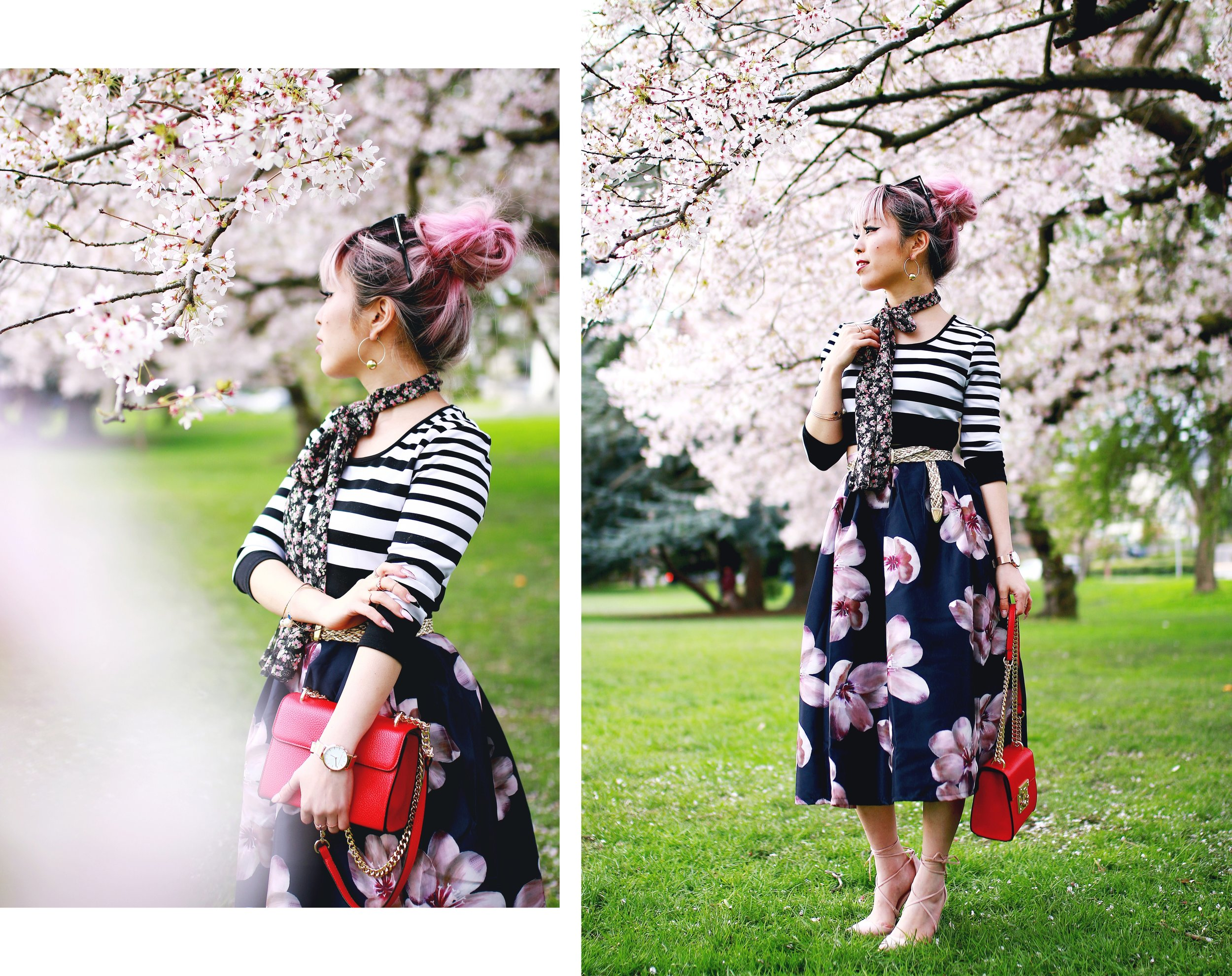 Charlotte Russe Striped Cropped Top-She In Floral Print Midi Skirt-Floral Print Think Scarf-Mellow World Red Mini Bag-Christian Paul 35MM ROSE GOLD/WHITE RAW MESH watch- Argento Vivo Earrings-Just Fab Lace up pumps- Aikas Love Closet-Seattle Fashion Style Blogger-Japanese-Pink hair 25