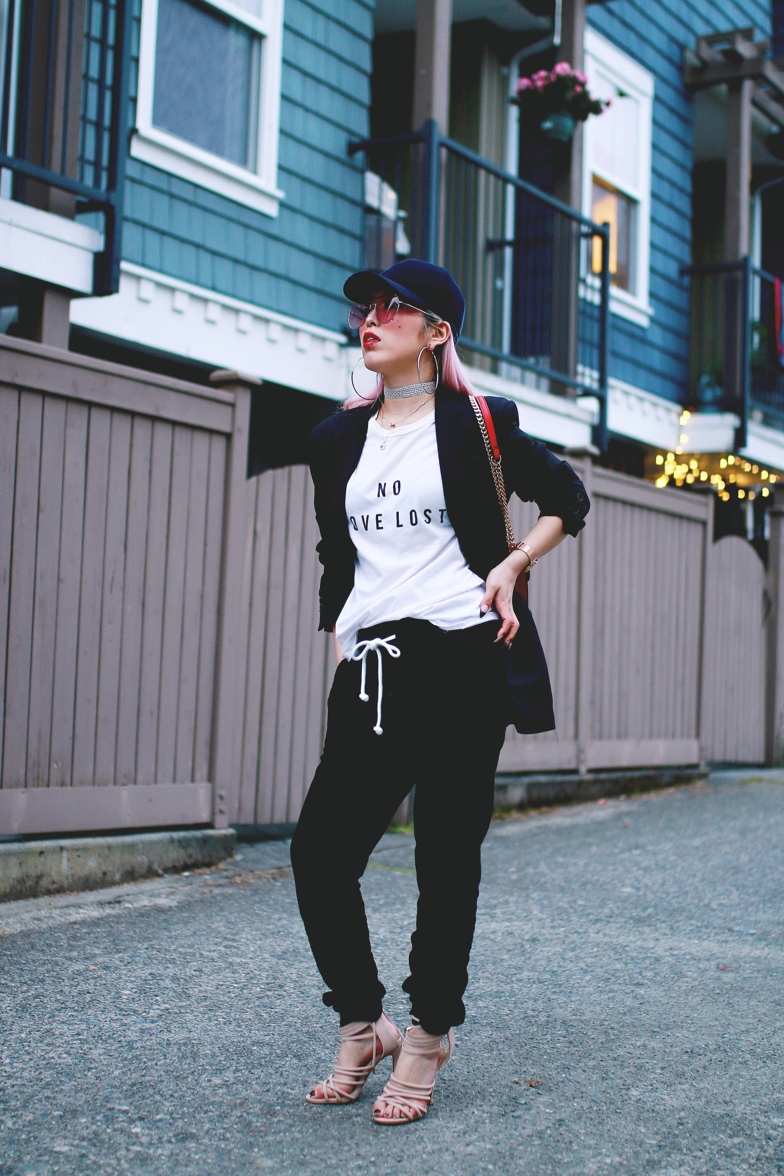 H&M Baseball Cap_Shop Sincerely Jules No LOVE LOST Tee_H&M Sweatpants_YSL Boyfriend Blazer_Zara Choker_Forever 21 Hoop Earrings_Mellow World Red Bag_Charlotte Russe Nude Sandals_L'Oreal Red Lipstick_Aikas Love Closet_Seattle Fashion Style Blogger_Pink Hair