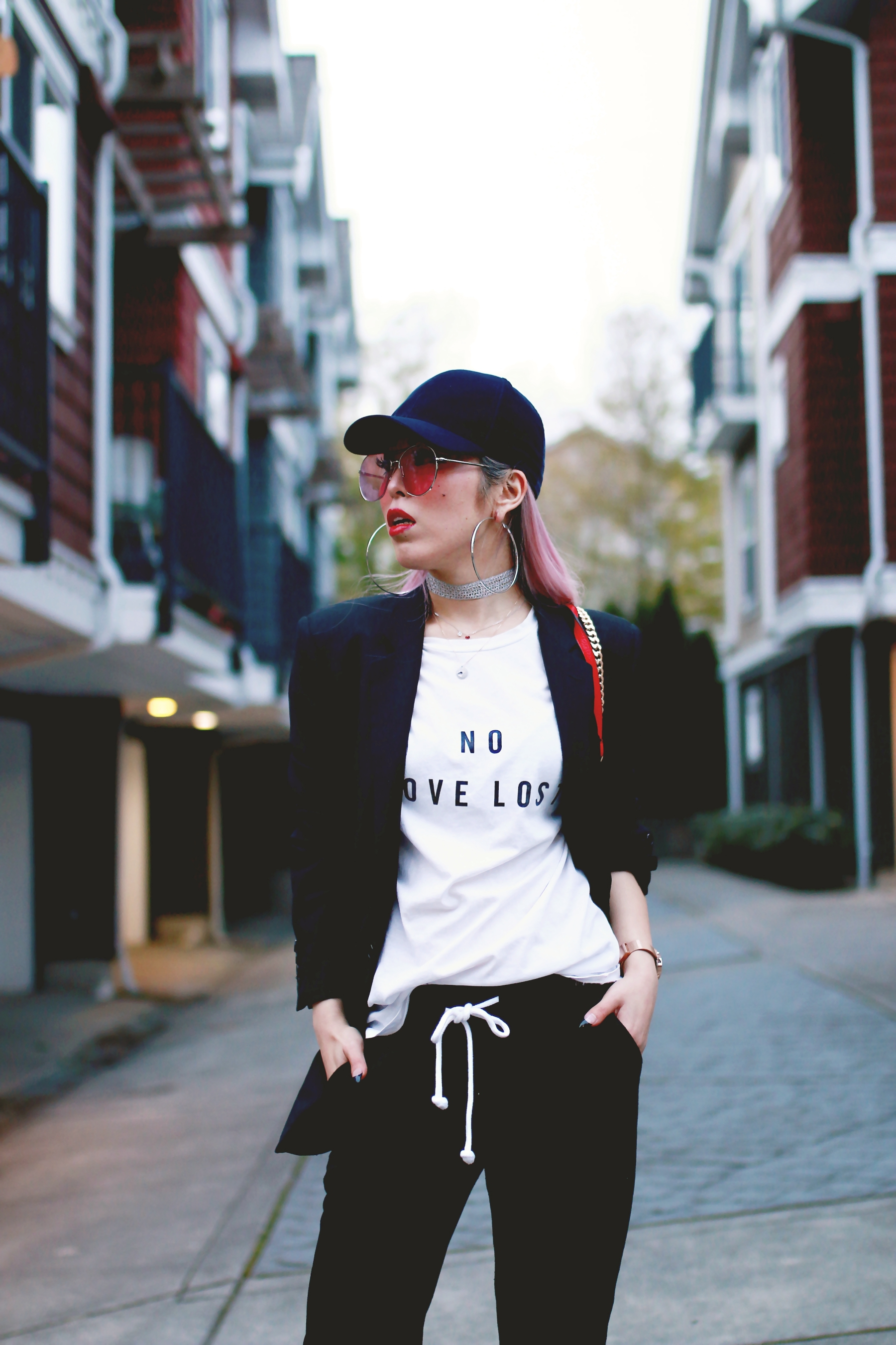 H&M Baseball Cap_Shop Sincerely Jules No LOVE LOST Tee_H&M Sweatpants_YSL Boyfriend Blazer_Zara Choker_Forever 21 Hoop Earrings_Mellow World Red Bag_Charlotte Russe Nude Sandals_L'Oreal Red Lipstick_Aikas Love Closet_Seattle Fashion Style Blogger_Pink Hair 7