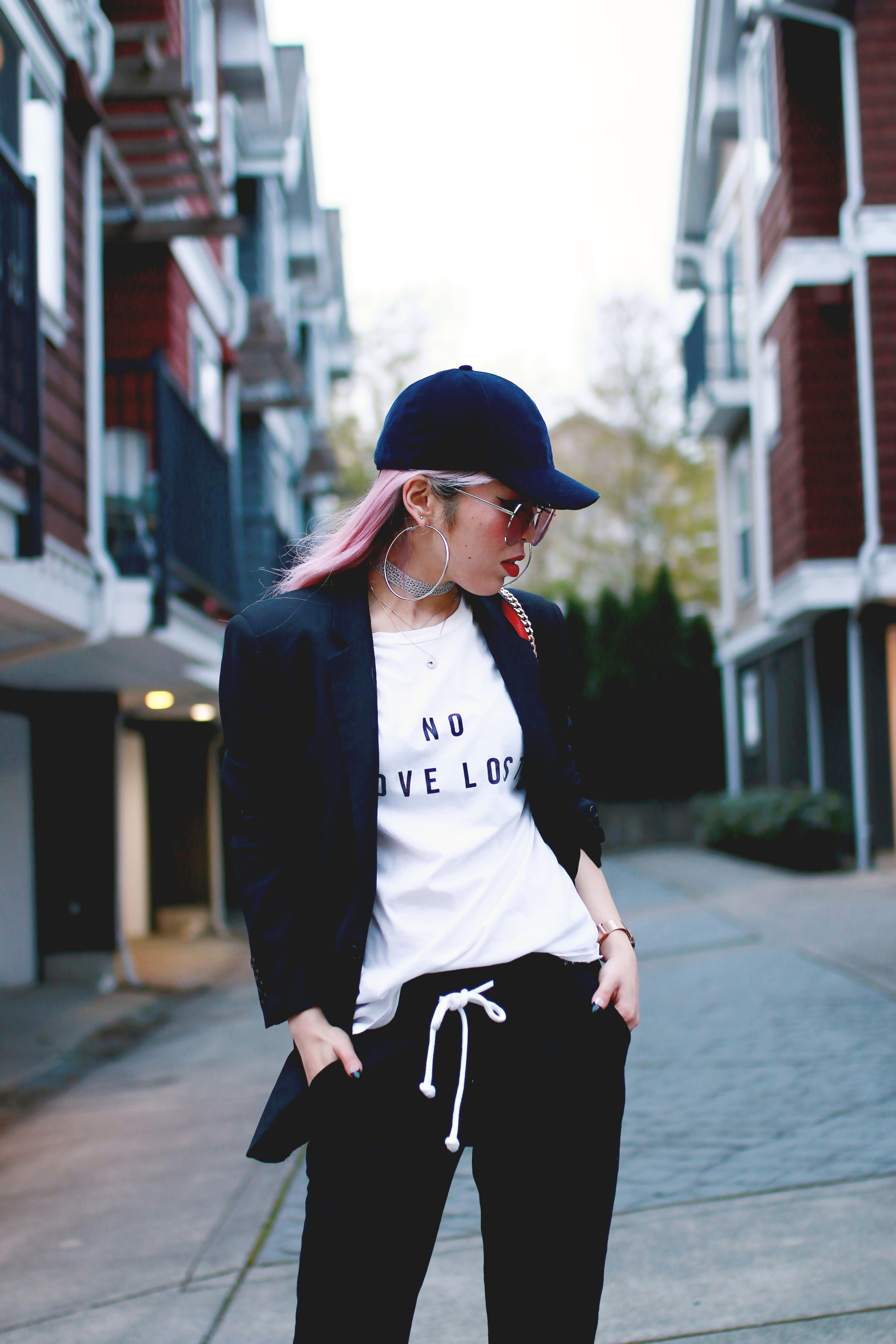 H&M Baseball Cap_Shop Sincerely Jules No LOVE LOST Tee_H&M Sweatpants_YSL Boyfriend Blazer_Zara Choker_Forever 21 Hoop Earrings_Mellow World Red Bag_Charlotte Russe Nude Sandals_L'Oreal Red Lipstick_Aikas Love Closet_Seattle Fashion Style Blogger_Pink Hair 8