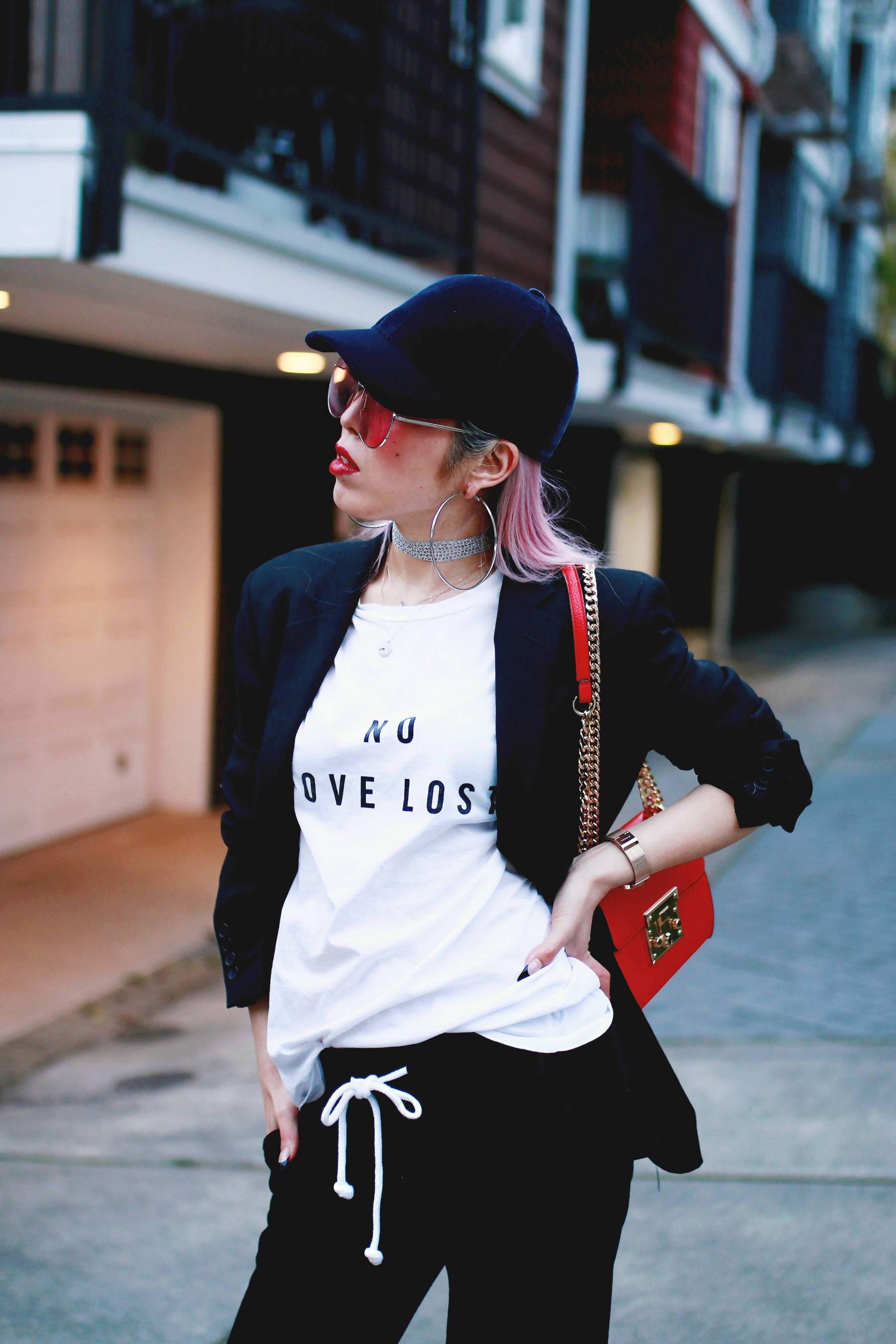 H&M Baseball Cap_Shop Sincerely Jules No LOVE LOST Tee_H&M Sweatpants_YSL Boyfriend Blazer_Zara Choker_Forever 21 Hoop Earrings_Mellow World Red Bag_Charlotte Russe Nude Sandals_L'Oreal Red Lipstick_Aikas Love Closet_Seattle Fashion Style Blogger_Pink Hair 9