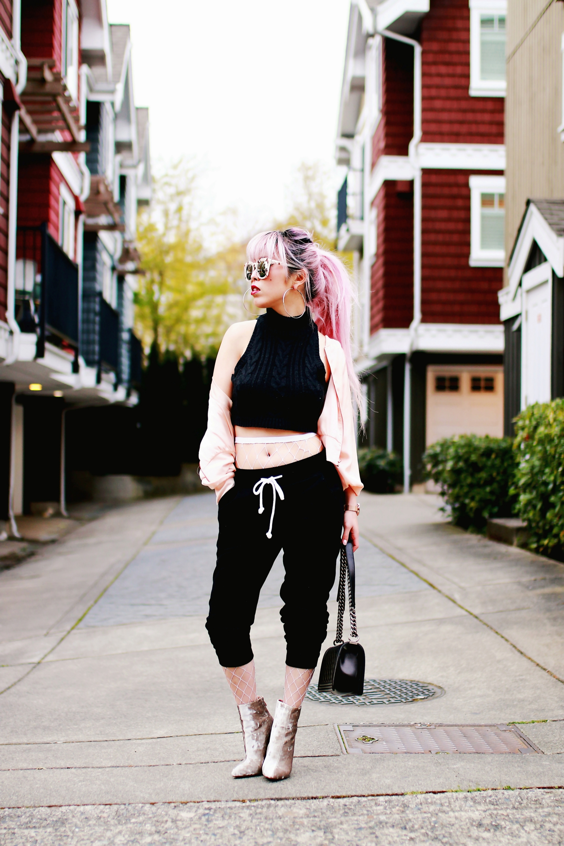 Zara Blush Silk Bomber Jacket_Missguided mock neck Crop top_ASOS fishnet tights_H&M sweatpants_Public Desire Boots_Chanel Bag_L'Oreal Red Lipstick_Free People Mirrored Sunglasses_Aikas Love Closet_Seattle Fashion Style Blogger_Pink Hair