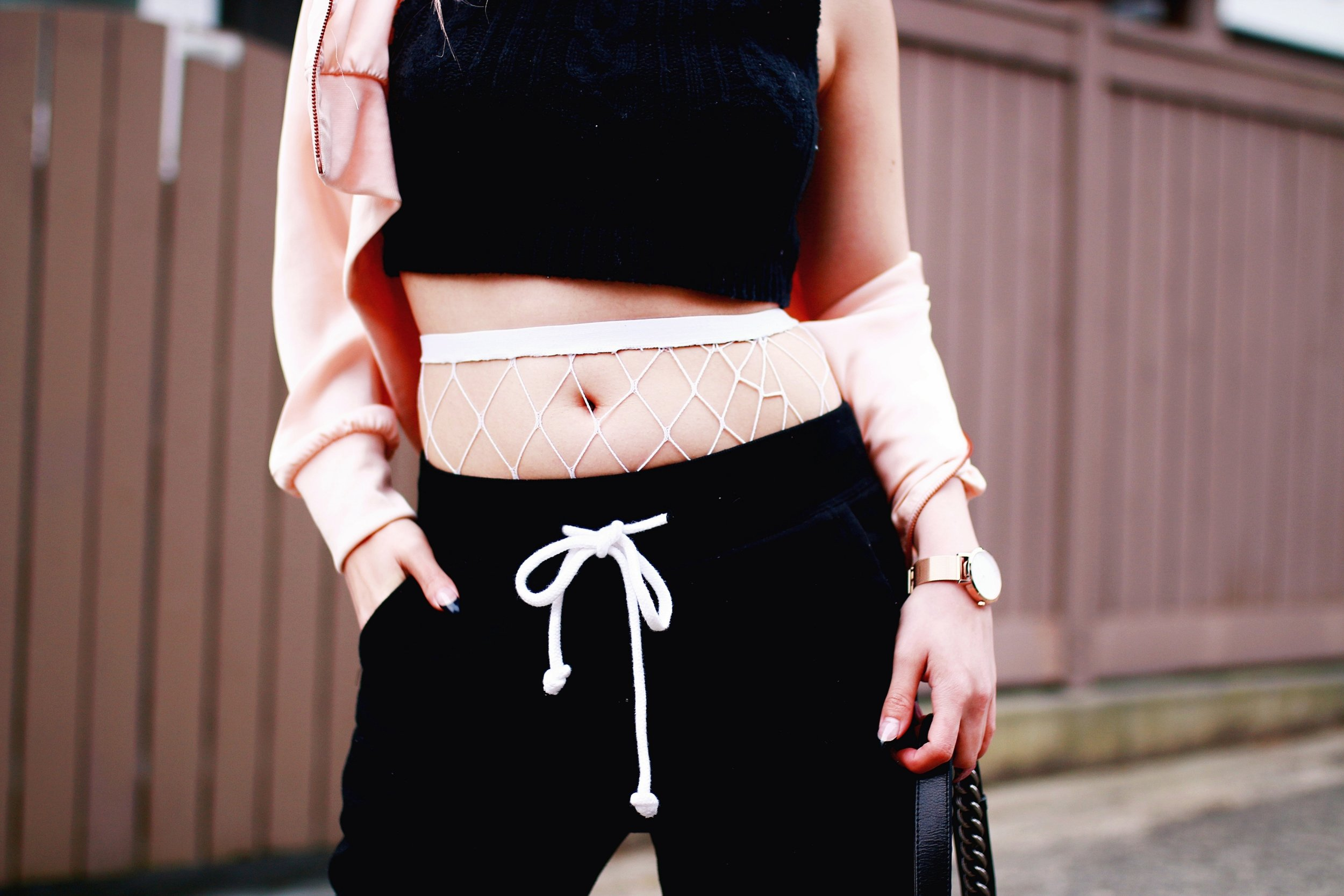 Zara Blush Silk Bomber Jacket_Missguided mock neck Crop top_ASOS fishnet tights_H&M sweatpants_Public Desire Boots_Chanel Bag_L'Oreal Red Lipstick_Free People Mirrored Sunglasses_Aikas Love Closet_Seattle Fashion Style Blogger_Pink Hair 6