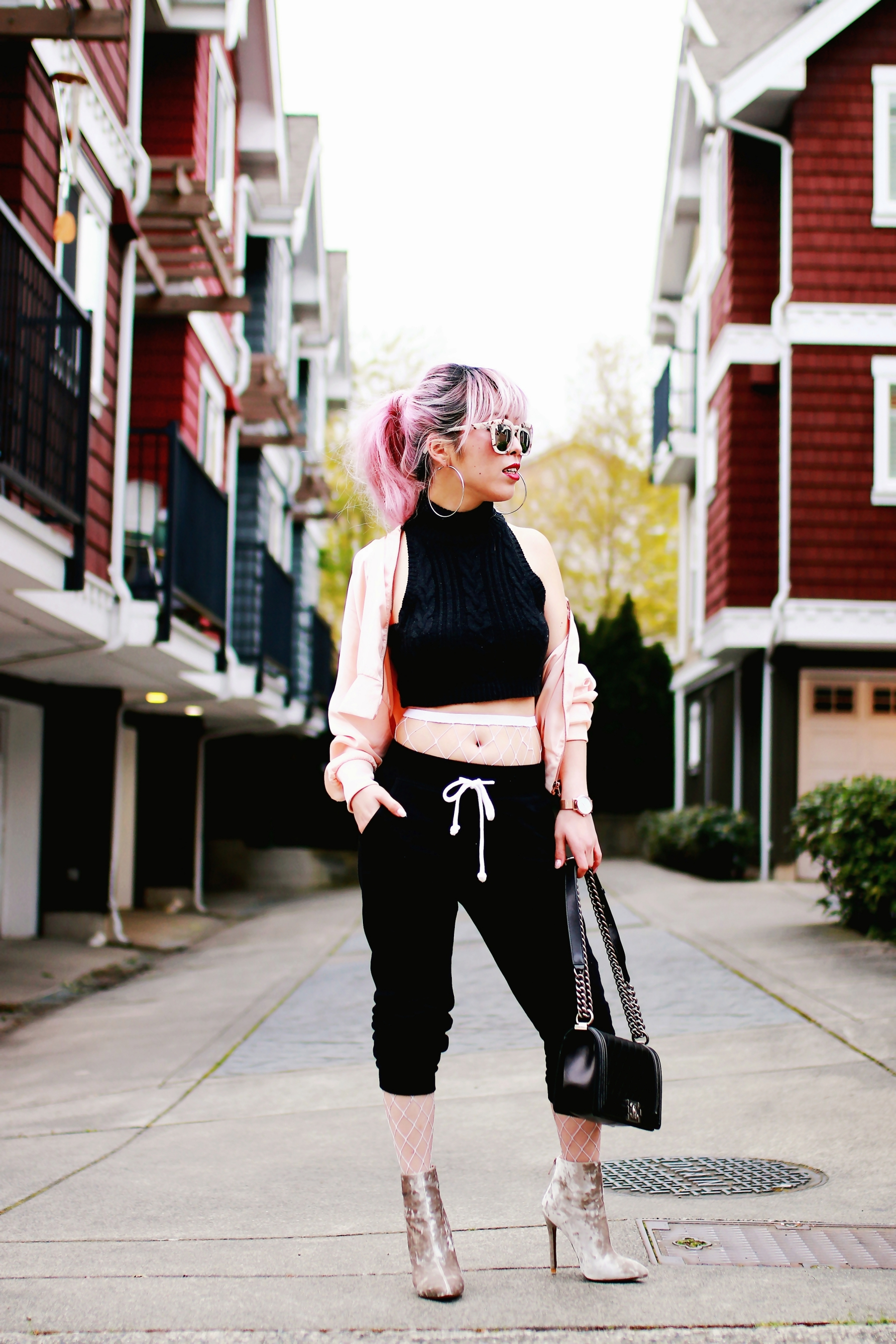 Zara Blush Silk Bomber Jacket_Missguided mock neck Crop top_ASOS fishnet tights_H&M sweatpants_Public Desire Boots_Chanel Bag_L'Oreal Red Lipstick_Free People Mirrored Sunglasses_Aikas Love Closet_Seattle Fashion Style Blogger_Pink Hair 7
