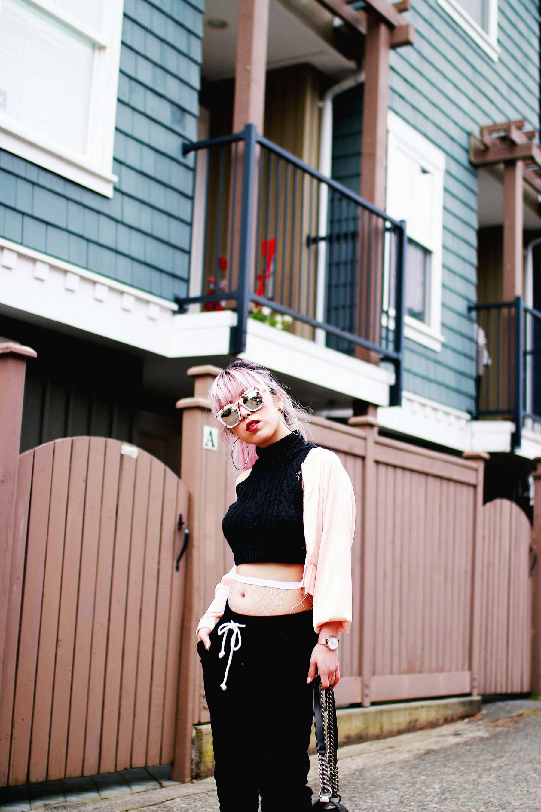 Zara Blush Silk Bomber Jacket_Missguided mock neck Crop top_ASOS fishnet tights_H&M sweatpants_Public Desire Boots_Chanel Bag_L'Oreal Red Lipstick_Free People Mirrored Sunglasses_Aikas Love Closet_Seattle Fashion Style Blogger_Pink Hair 8