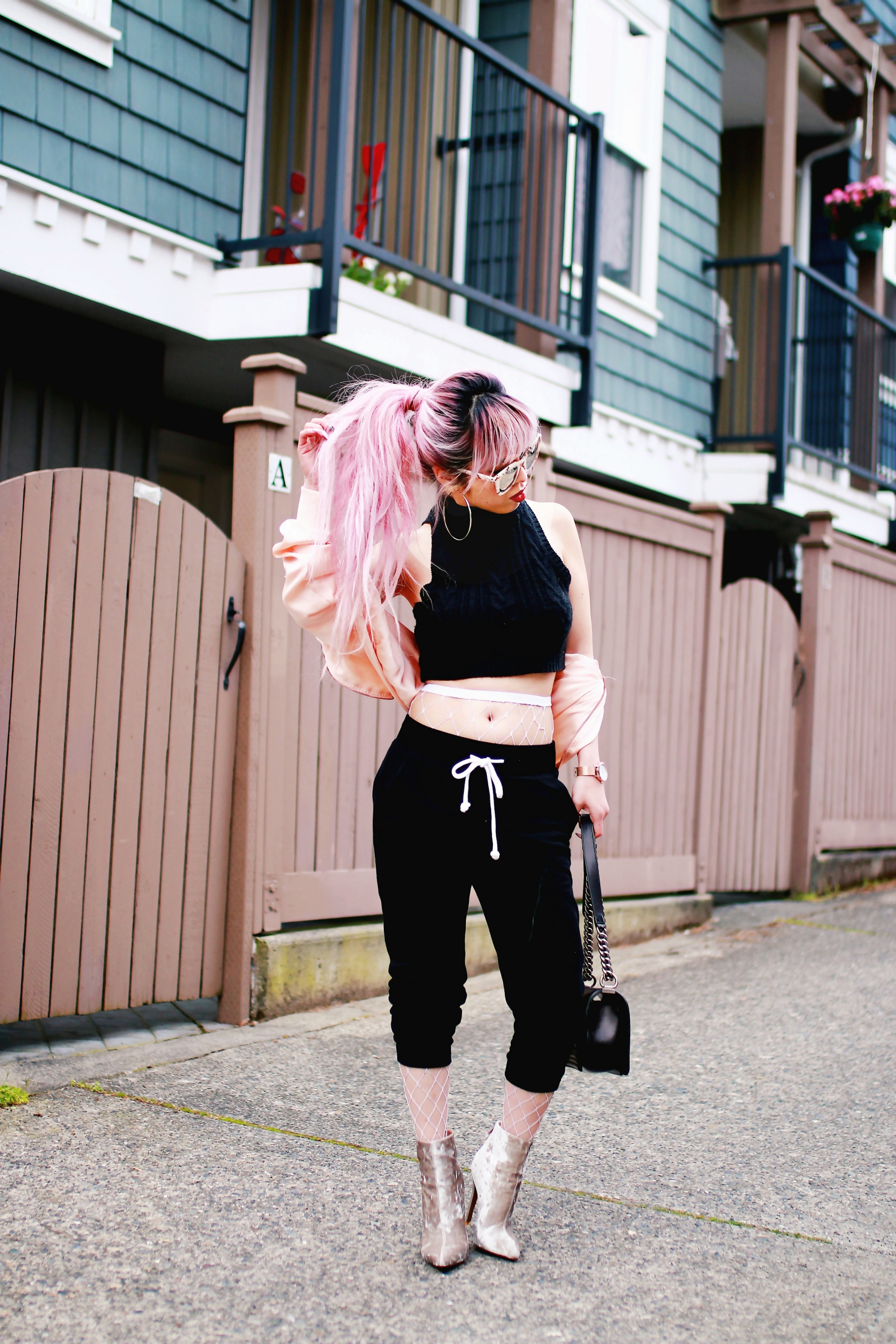 Zara Blush Silk Bomber Jacket_Missguided mock neck Crop top_ASOS fishnet tights_H&M sweatpants_Public Desire Boots_Chanel Bag_L'Oreal Red Lipstick_Free People Mirrored Sunglasses_Aikas Love Closet_Seattle Fashion Style Blogger_Pink Hair 9