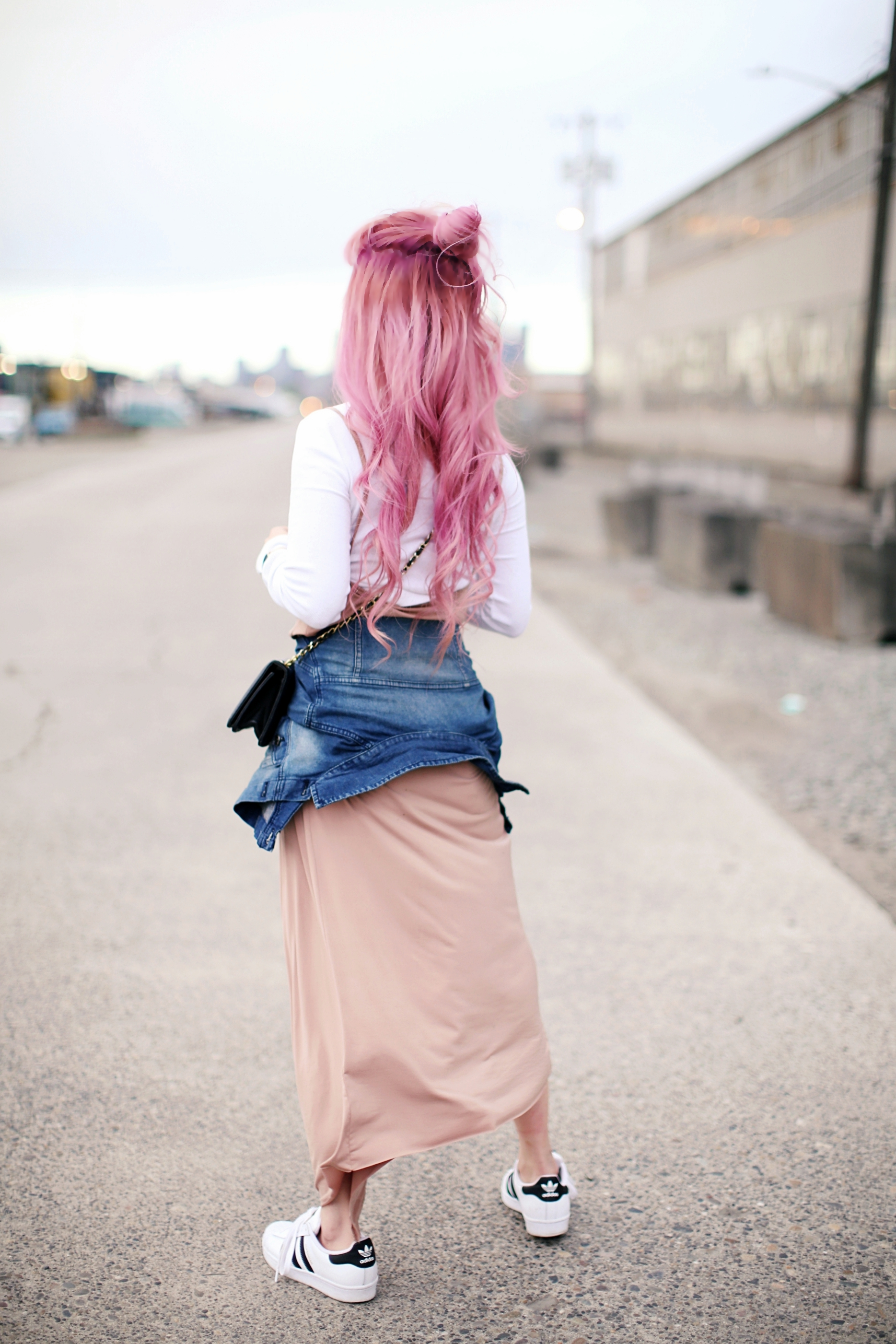 Forever 21 Long sleeve crop top_ZARA blush slip dress_Adidas Super Star sneakers_Vintage Chanel crossbodybag_Daniel Wellington Petite rose gold watch_Guess denim jacket_Aika's Love Closet_Seattle Fashion style blogger_Japanese_pink hair 3