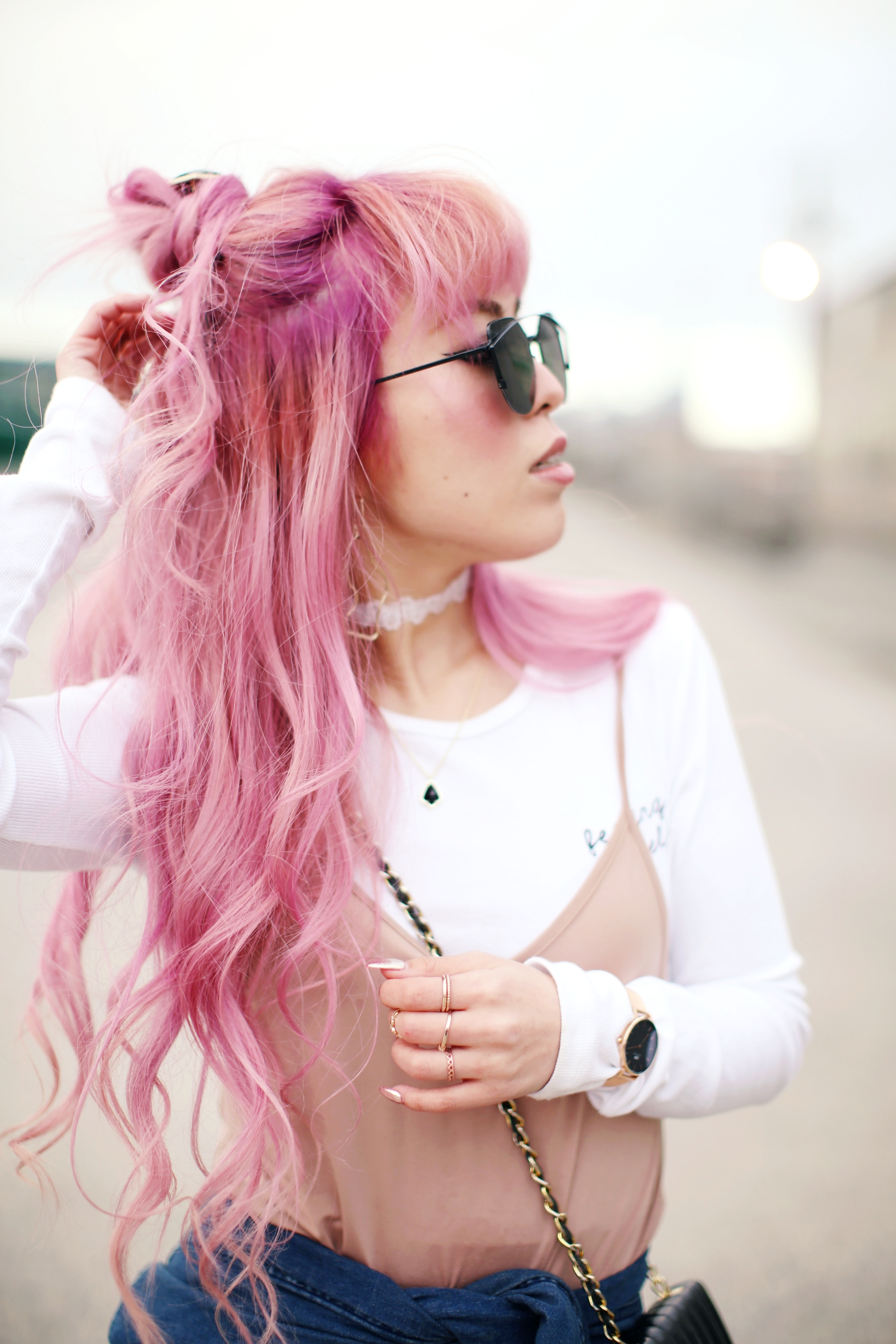 Forever 21 Long sleeve crop top_ZARA blush slip dress_Adidas Super Star sneakers_Vintage Chanel crossbodybag_Daniel Wellington Petite rose gold watch_Guess denim jacket_Aika's Love Closet_Seattle Fashion style blogger_Japanese_pink hair_Topknot soft curled-beachy wave hair