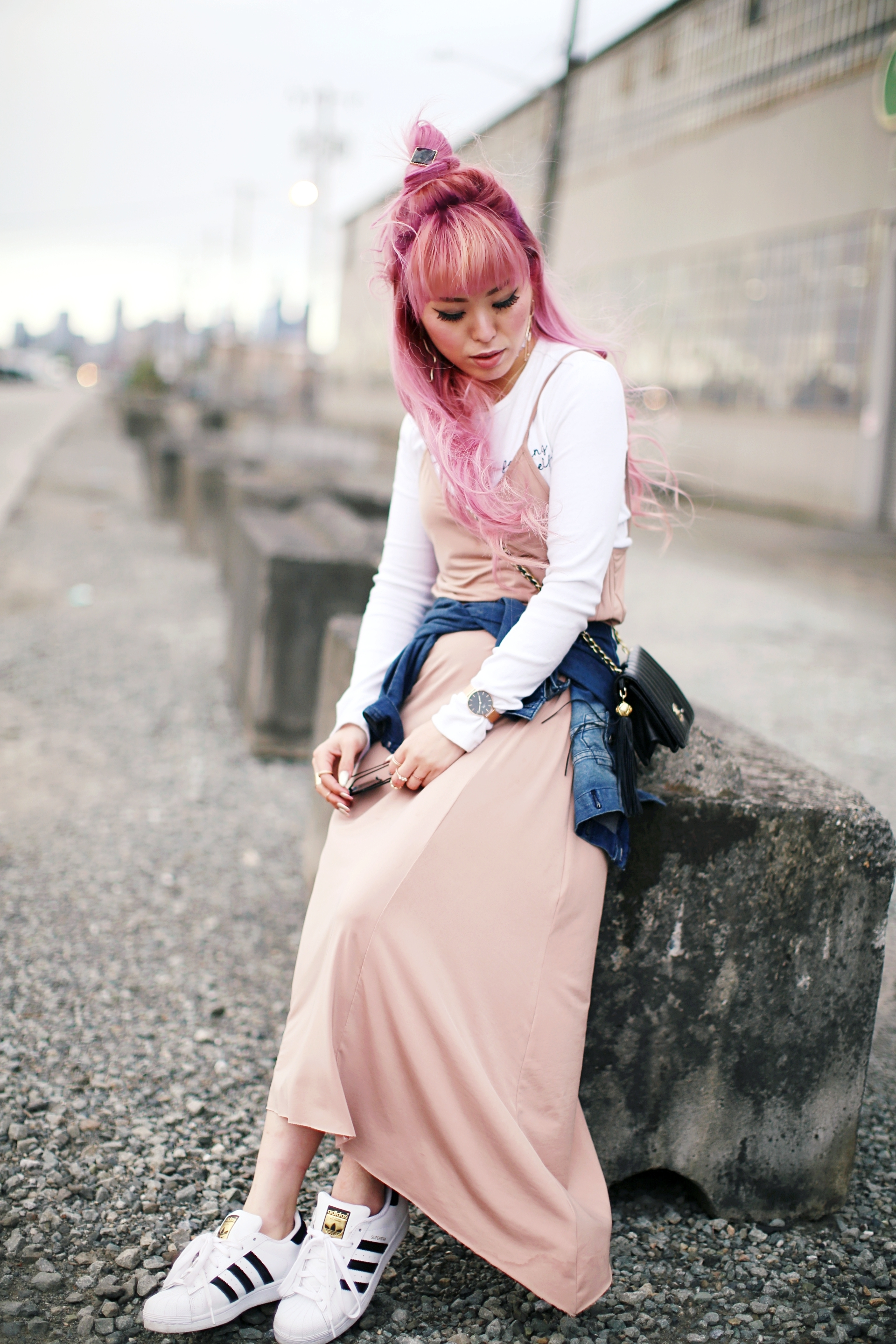 Forever 21 Long sleeve crop top_ZARA blush slip dress_Adidas Super Star sneakers_Vintage Chanel crossbodybag_Daniel Wellington Petite rose gold watch_Guess denim jacket_Aika's Love Closet_Seattle Fashion style blogger_Japanese_pink hair_Topknot hair