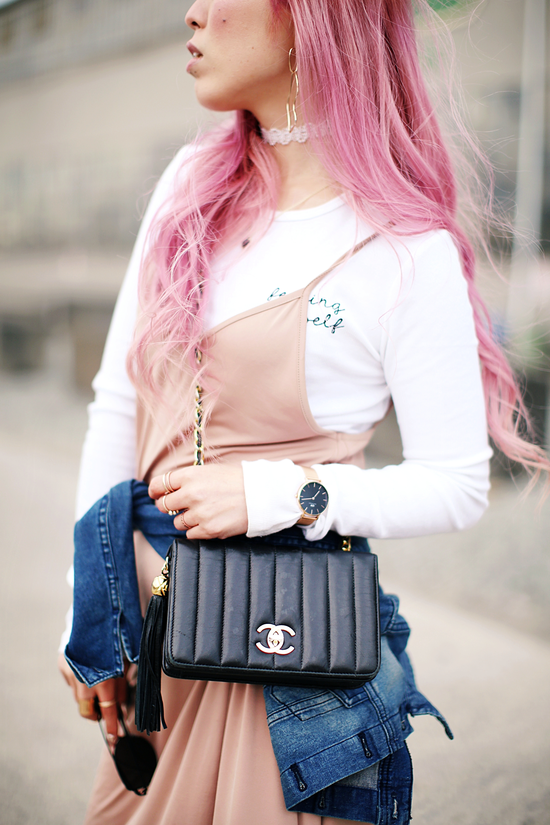 Forever 21 Long sleeve crop top_ZARA blush slip dress_Adidas Super Star sneakers_Vintage Chanel crossbodybag_Daniel Wellington Petite rose gold watch_Guess denim jacket_Aika's Love Closet_Seattle Fashion style blogger_Japanese_pink hair_Topknot hair 2
