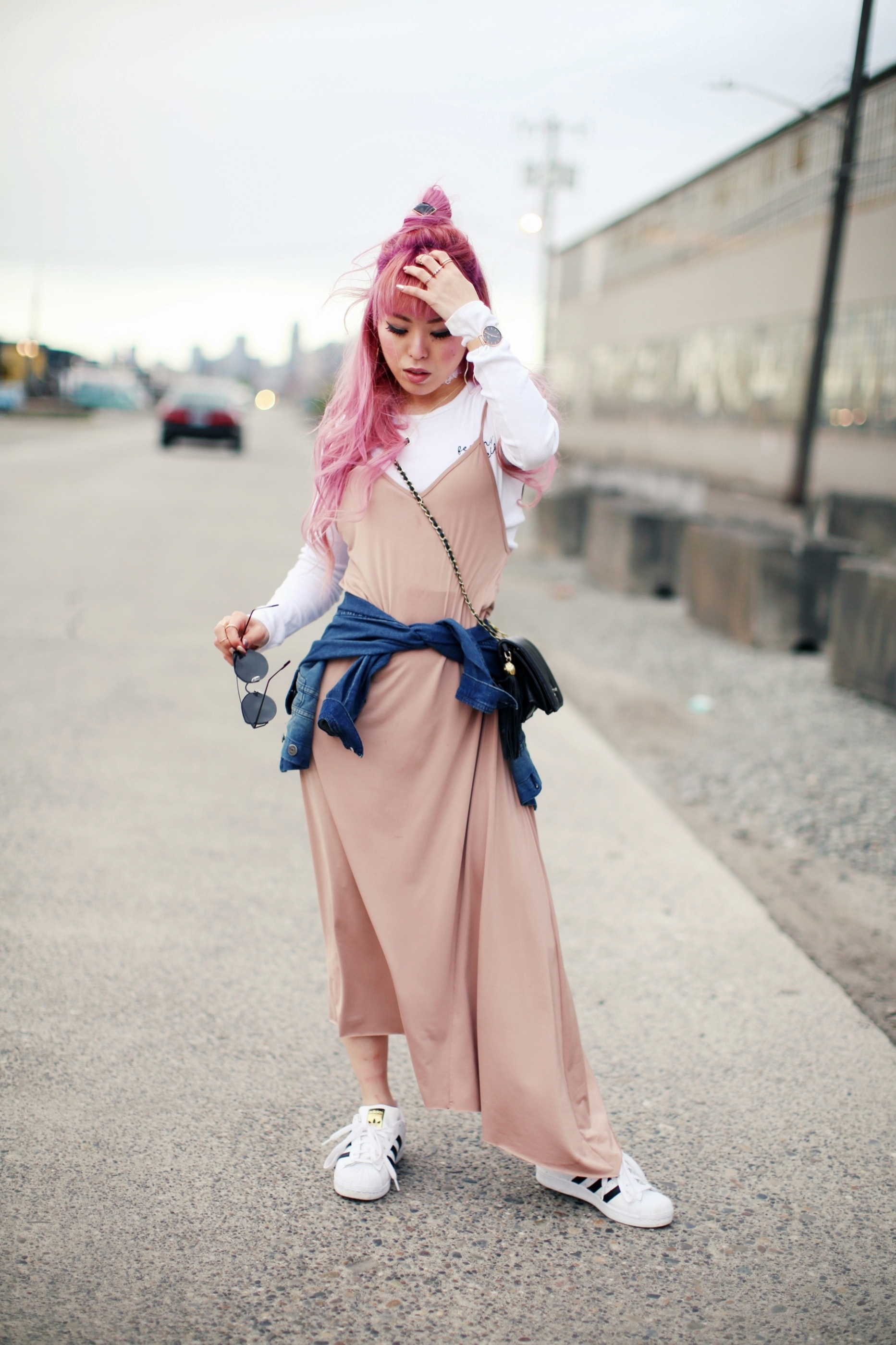 Forever 21 Long sleeve crop top_ZARA blush slip dress_Adidas Super Star sneakers_Vintage Chanel crossbodybag_Daniel Wellington Petite rose gold watch_Guess denim jacket_Aika's Love Closet_Seattle Fashion style blogger_Japanese_pink hair_Topknot hair 3