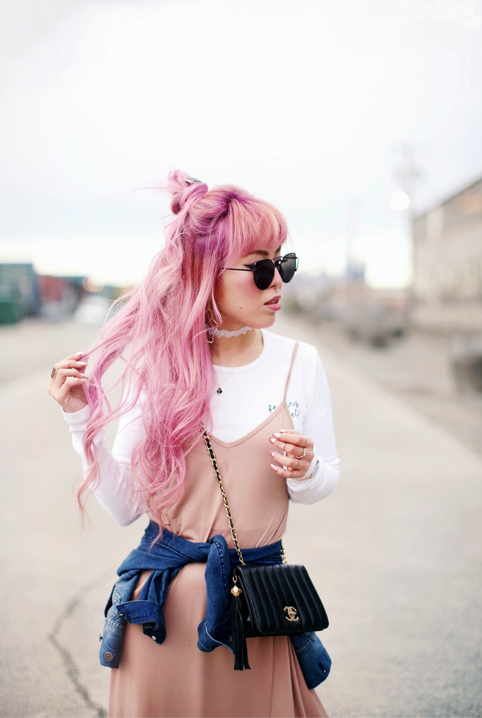 Forever 21 Long sleeve crop top_ZARA blush slip dress_Adidas Super Star sneakers_Vintage Chanel crossbodybag_Daniel Wellington Petite rose gold watch_Guess denim jacket_Aika's Love Closet_Seattle Fashion style blogger_Japanese_pink hair_Top knot hair  4