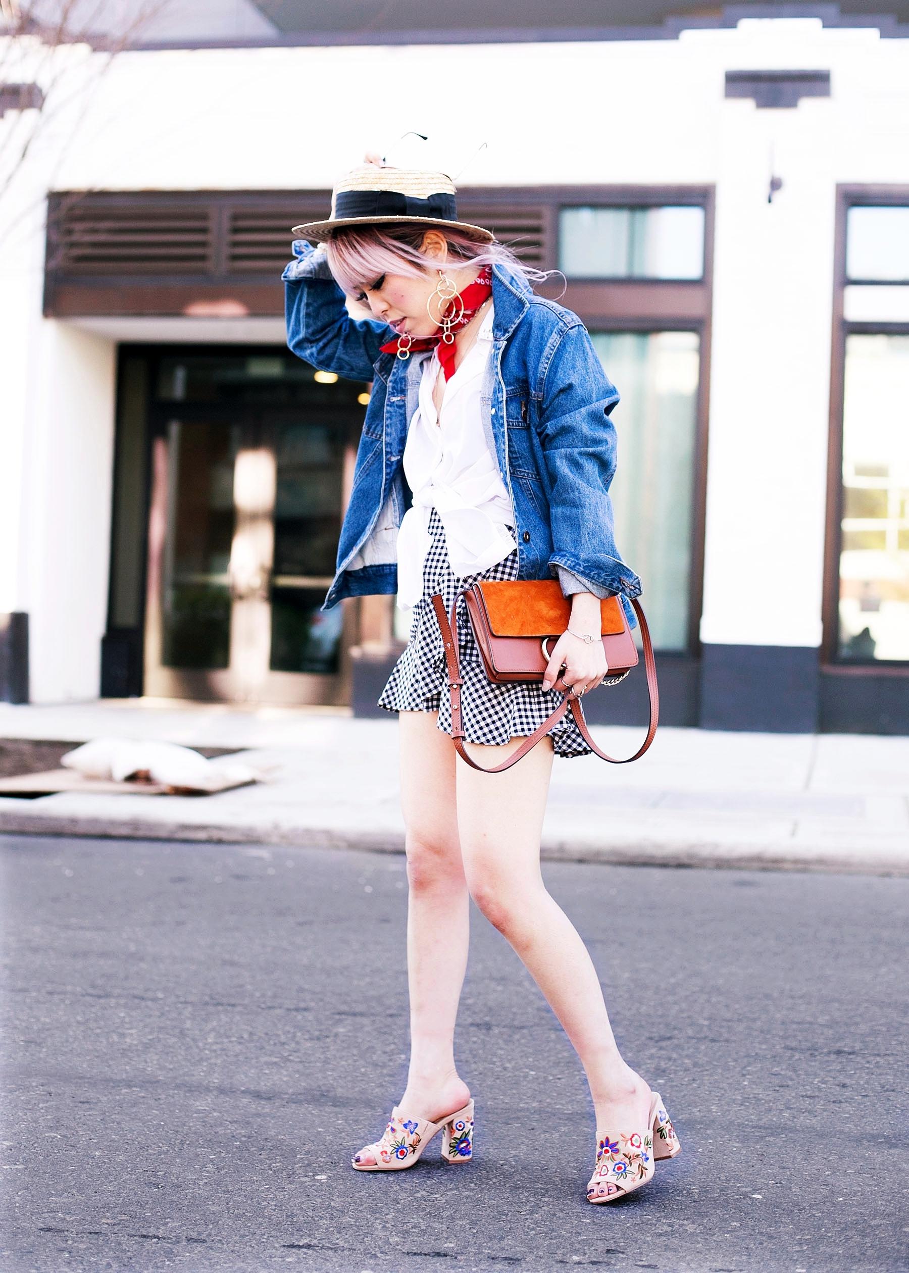 H&M Straw hat_Urban Outfitter Red bandana_kohls kohl's button up shirts_ZARA statement earrings_H&M gingham mini skirt_Chloe bag_ALDO Embroidered Mules_Aikas Love Closet_Seattle Fashion style logger_petite fashion