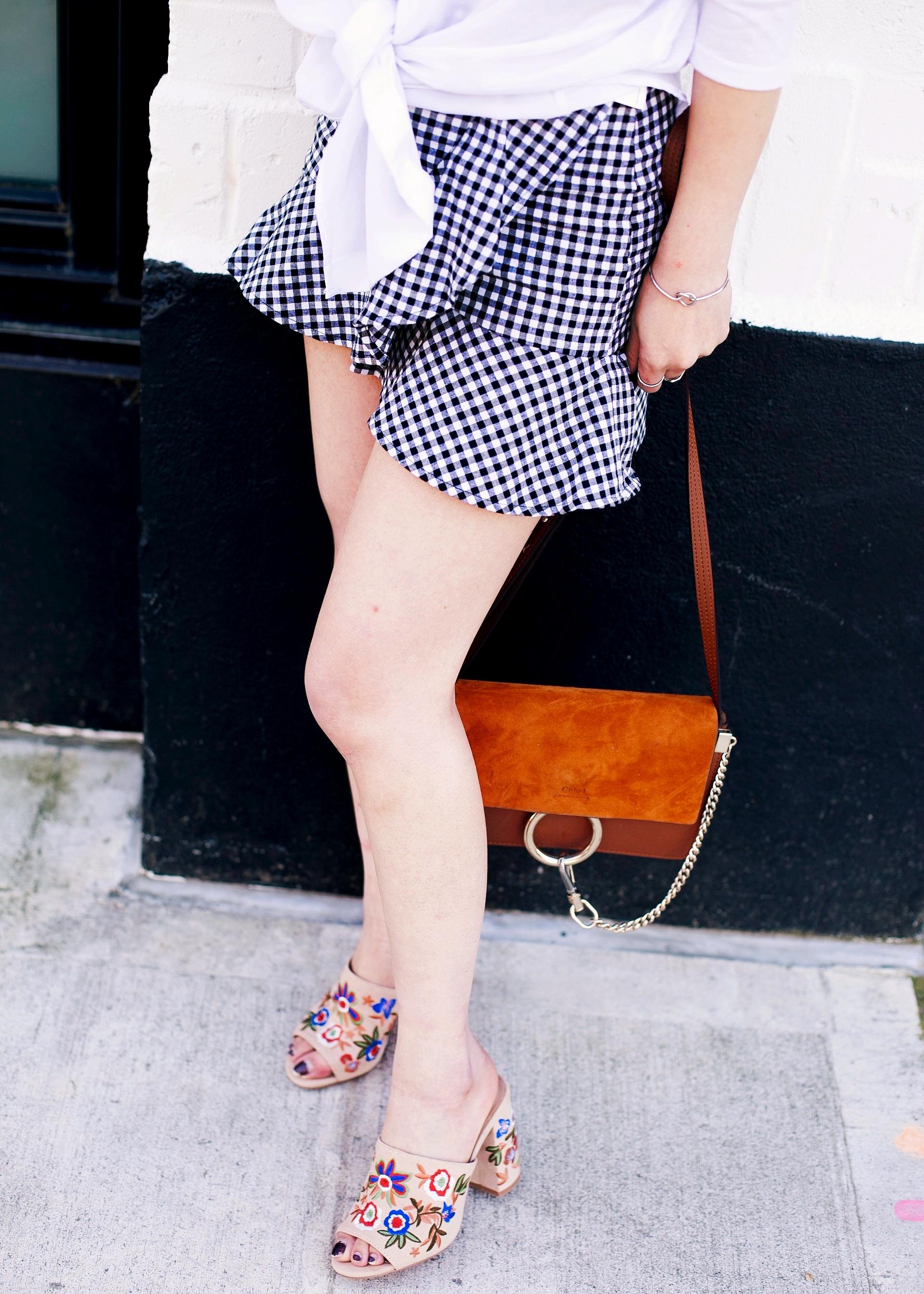 H&M Gingham Mini skirt_Chloe Faye mini bag_Aldo Embroidered mules_Aikas Love Closet_Seattle Fashion style blogger_Petite fashion