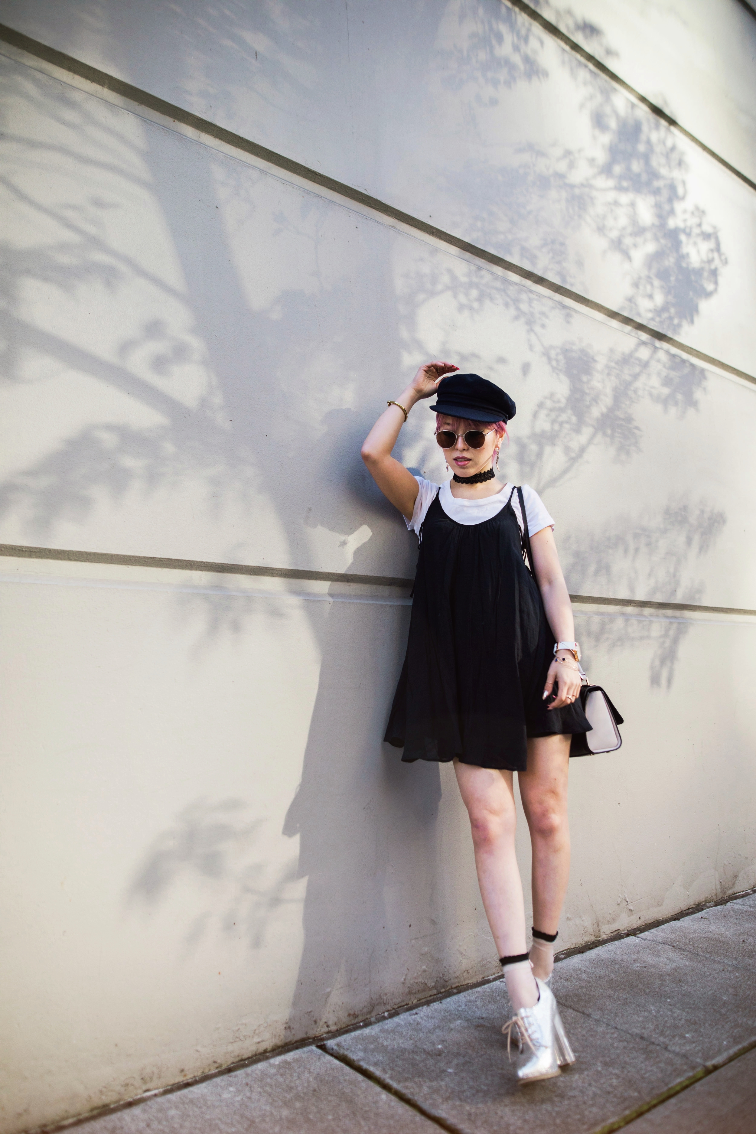 Aritzia News Boy Cap_Polette Retro Round Sunglasses_Mango Moon Star Earrings_Shopdixi Lace Choker_Forever 21 White Tee_Urban Outfitters Little Black Dress_Zara Bag_Sheer ankle Socks_ASOS Glitter Block heels Shoes_Aikas Love Closet_Seattle Fashion Blogger_Japanese_Pink hair 15
