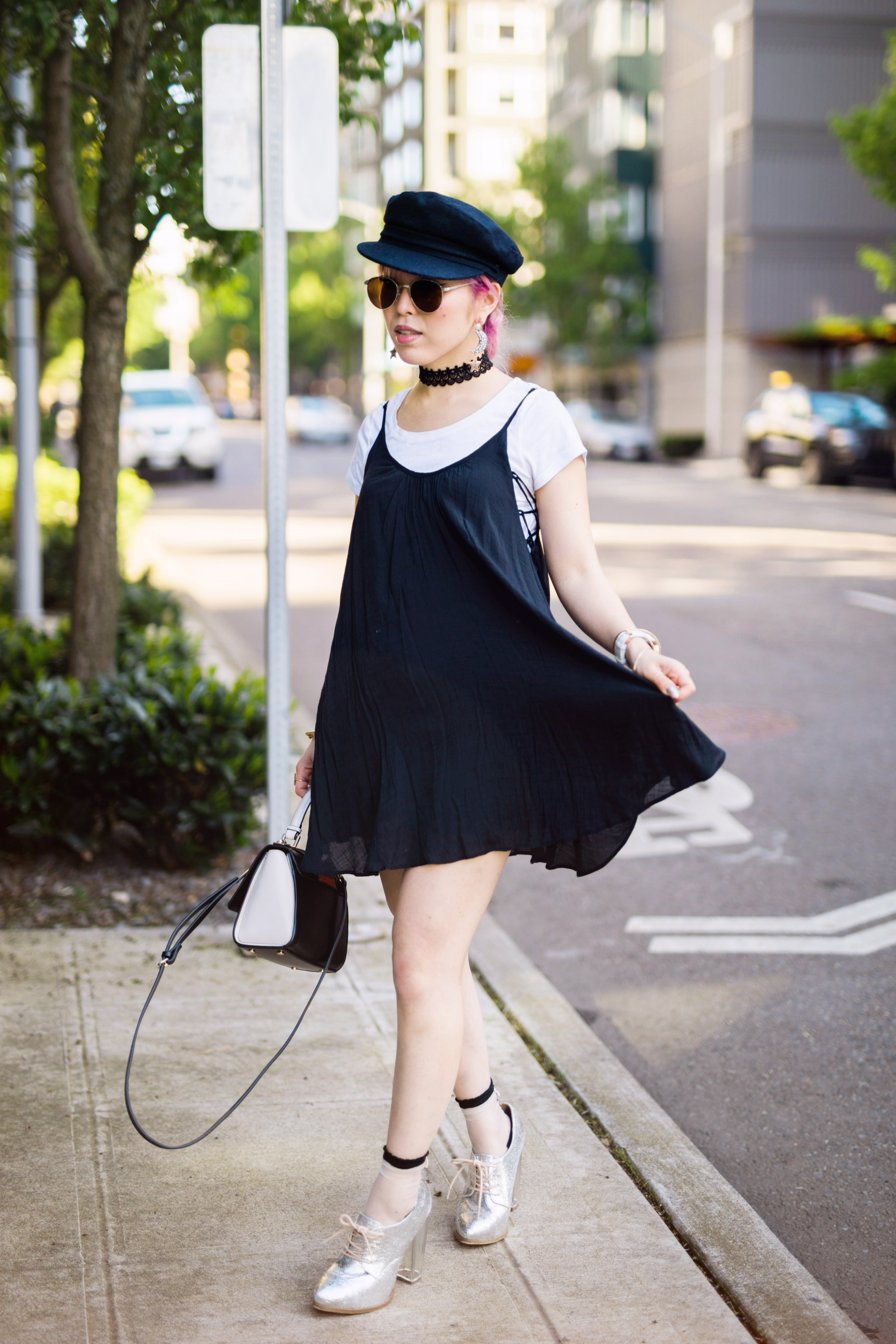 Aritzia News Boy Cap_Polette Retro Round Sunglasses_Mango Moon Star Earrings_Shopdixi Lace Choker_Forever 21 White Tee_Urban Outfitters Little Black Dress_Zara Bag_Sheer ankle Socks_ASOS Glitter Block heels Shoes_Aikas Love Closet_Seattle Fashion Blogger_Japanese_Pink hair 18