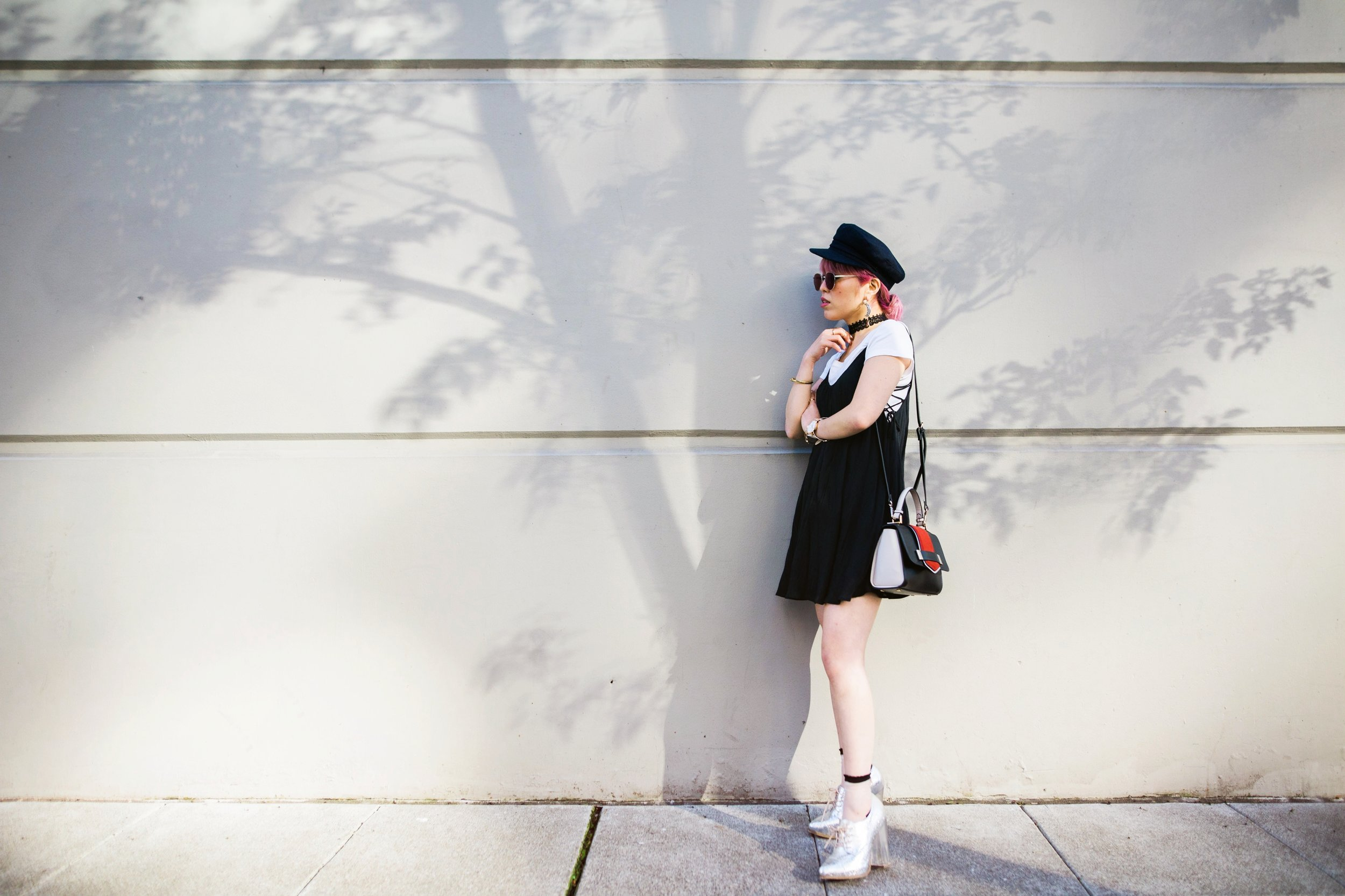 Aritzia News Boy Cap_Polette Retro Round Sunglasses_Mango Moon Star Earrings_Shopdixi Lace Choker_Forever 21 White Tee_Urban Outfitters Little Black Dress_Zara Bag_Sheer ankle Socks_ASOS Glitter Block heels Shoes_Aikas Love Closet_Seattle Fashion Blogger_Japanese_Pink hair 19