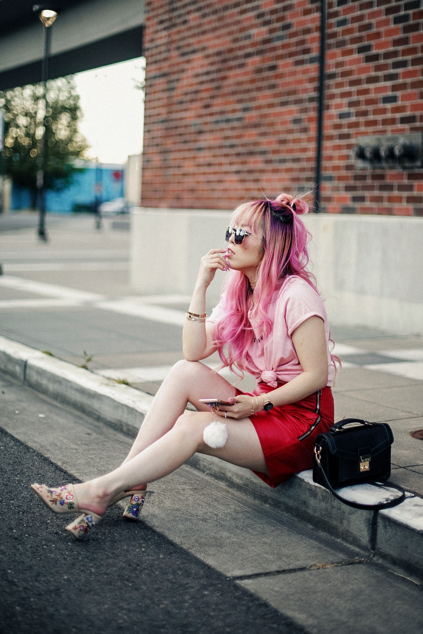 NA-KD Pink Not Your Girl Tee_ZARA Red Leather mini skirt_ALSO Embroidered Mules_Daniel Wellington classic petite melrose rose gold black_Pink hair_Half top knot hair_Aikas Love Closet_Seattle Fashion Blogger_Japanese