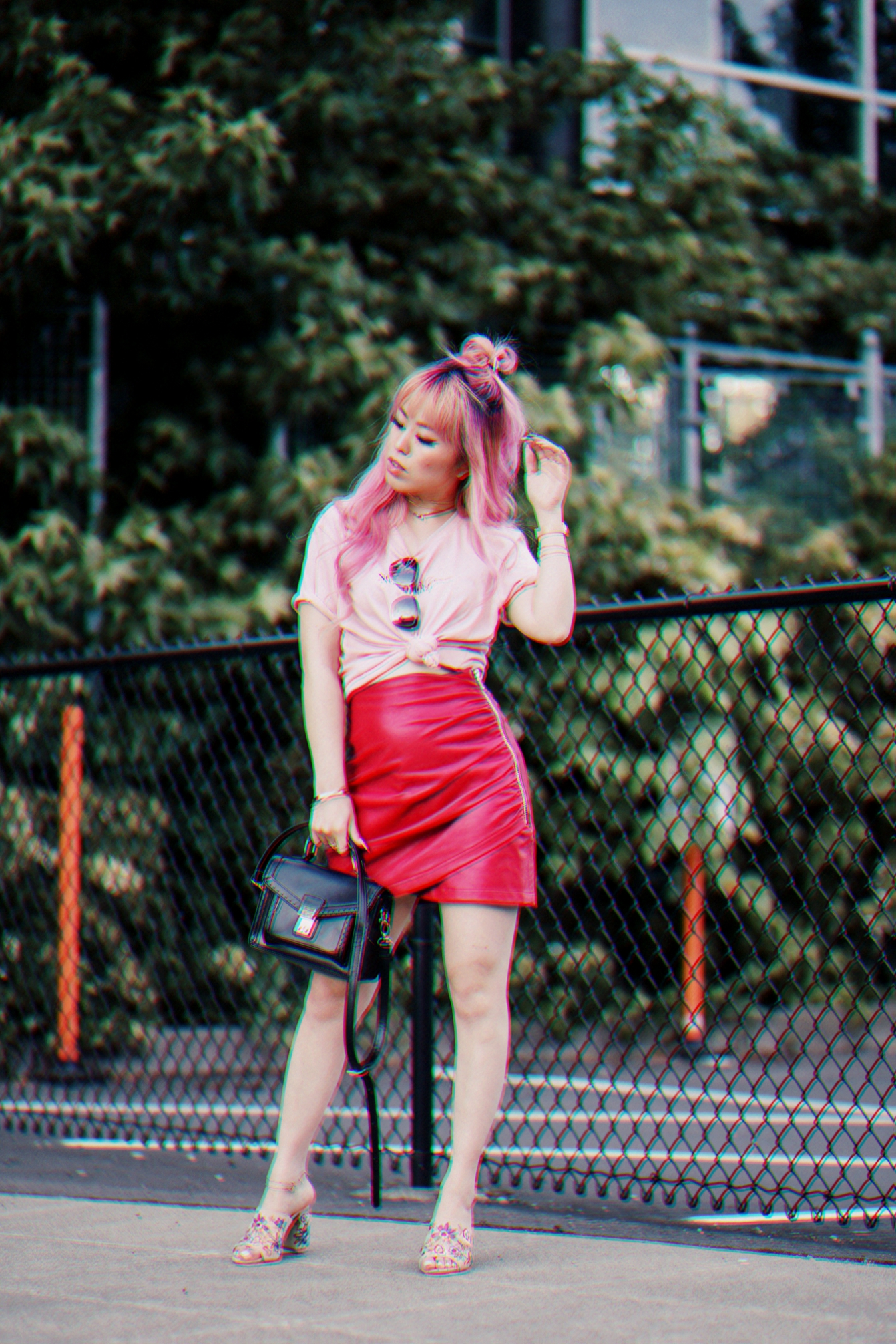 NA-KD Pink Not Your Girl Tee_ZARA Red Leather mini skirt_ALSO Embroidered Mules_Daniel Wellington classic petite melrose rose gold black_Pink hair_Half top knot hair_Aikas Love Closet_Seattle Fashion Blogger_Japanese 3