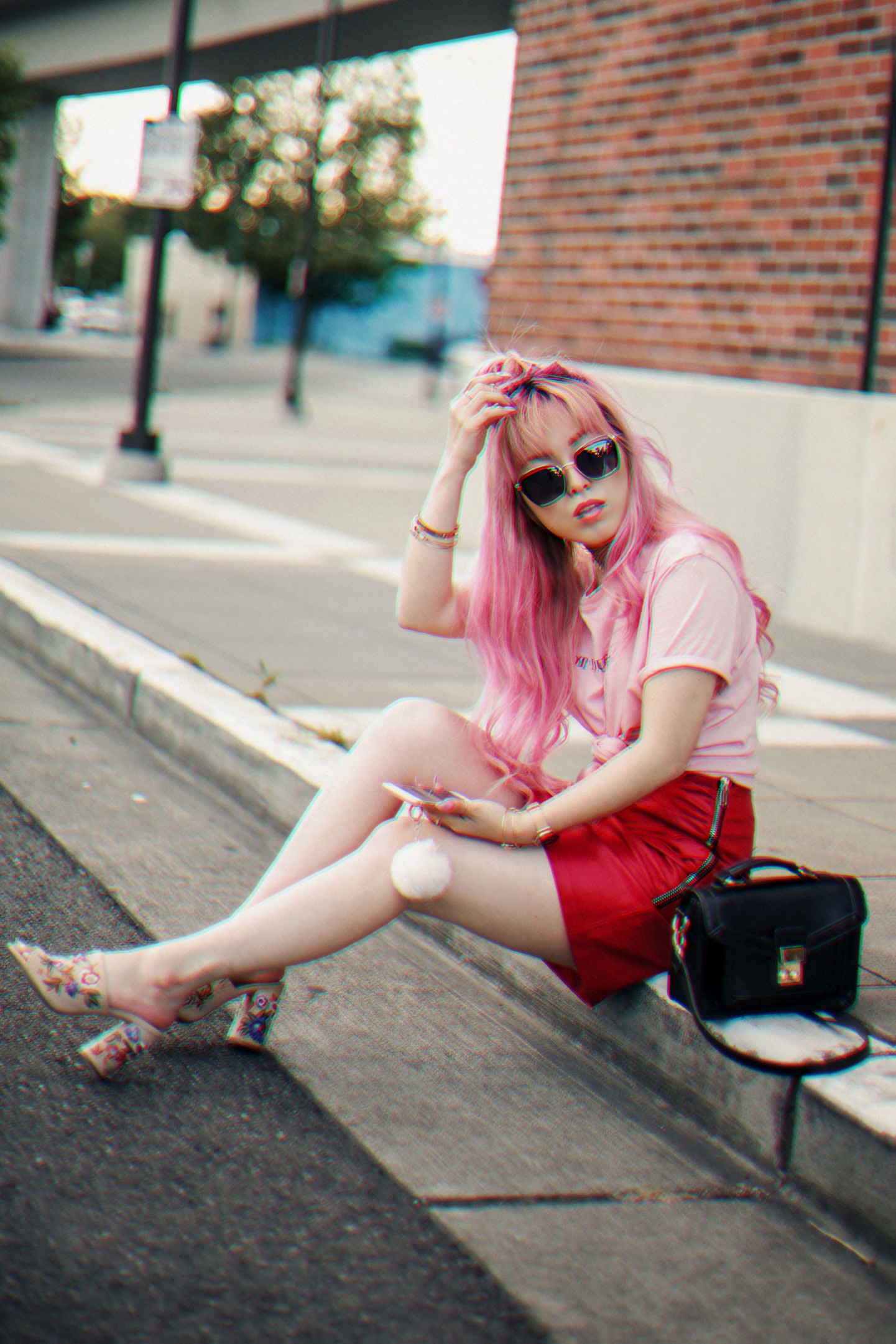 NA-KD Pink Not Your Girl Tee_ZARA Red Leather mini skirt_ALSO Embroidered Mules_Daniel Wellington classic petite melrose rose gold black_Pink hair_Half top knot hair_Aikas Love Closet_Seattle Fashion Blogger_Japanese 7