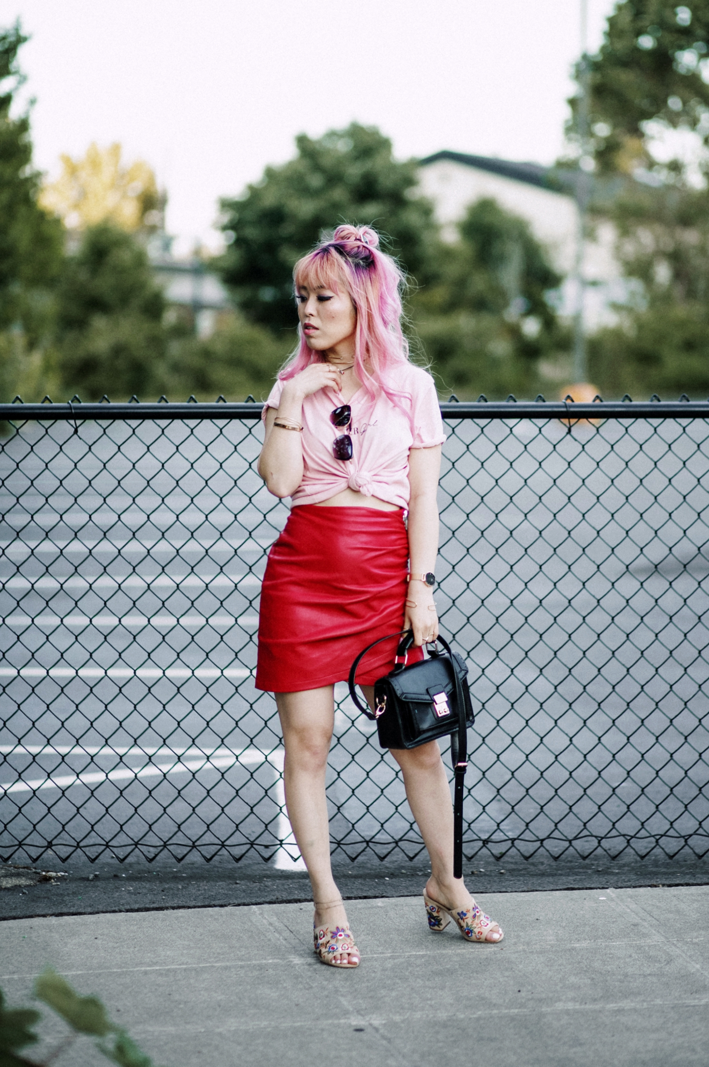 NA-KD Pink Not Your Girl Tee_ZARA Red Leather mini skirt_ALSO Embroidered Mules_Daniel Wellington classic petite melrose rose gold black_Pink hair_Half top knot hair_Aikas Love Closet_Seattle Fashion Blogger_Japanese 10