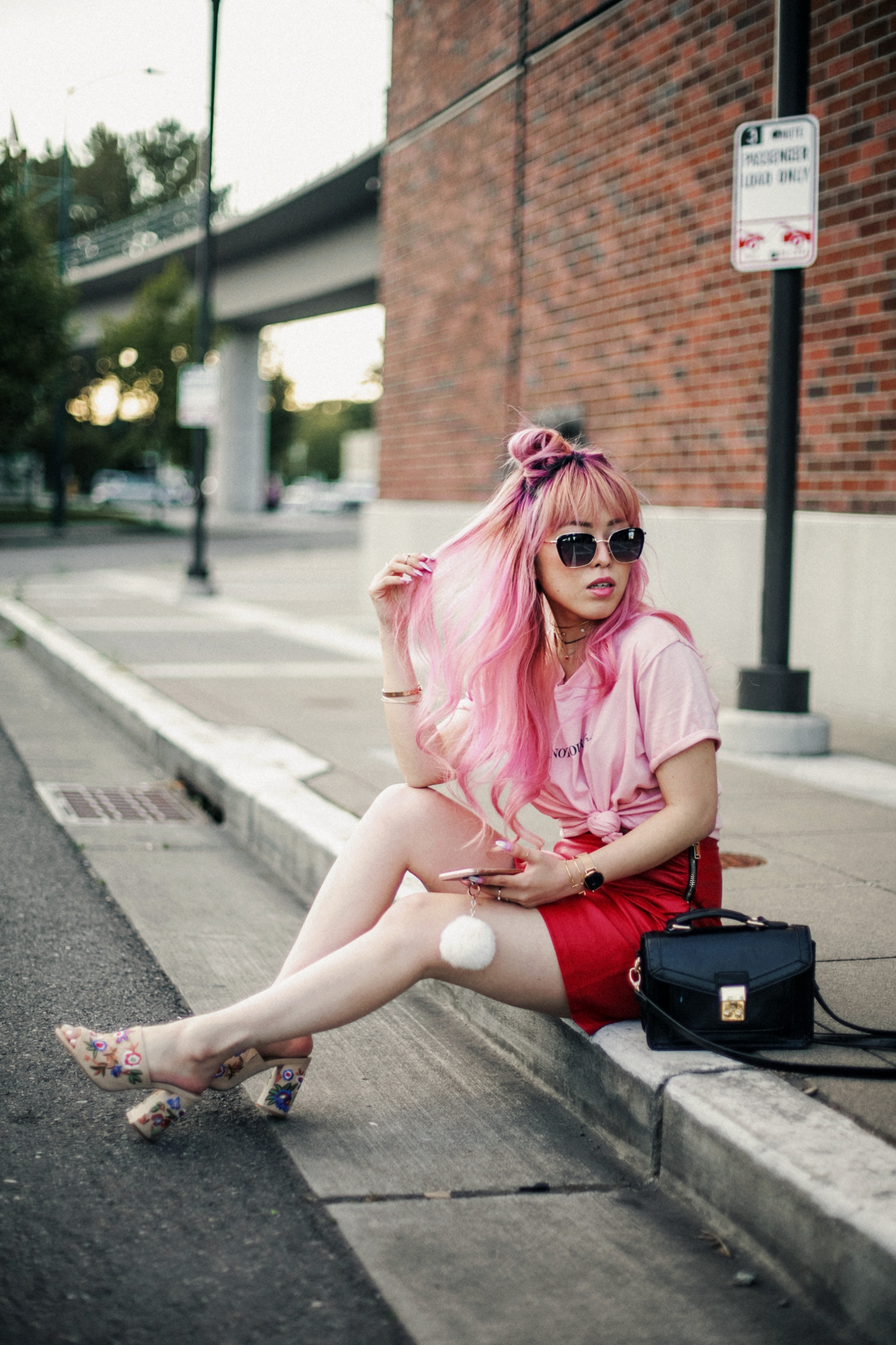 NA-KD Pink Not Your Girl Tee_ZARA Red Leather mini skirt_ALSO Embroidered Mules_Daniel Wellington classic petite melrose rose gold black_Pink hair_Half top knot hair_Aikas Love Closet_Seattle Fashion Blogger_Japanese 11