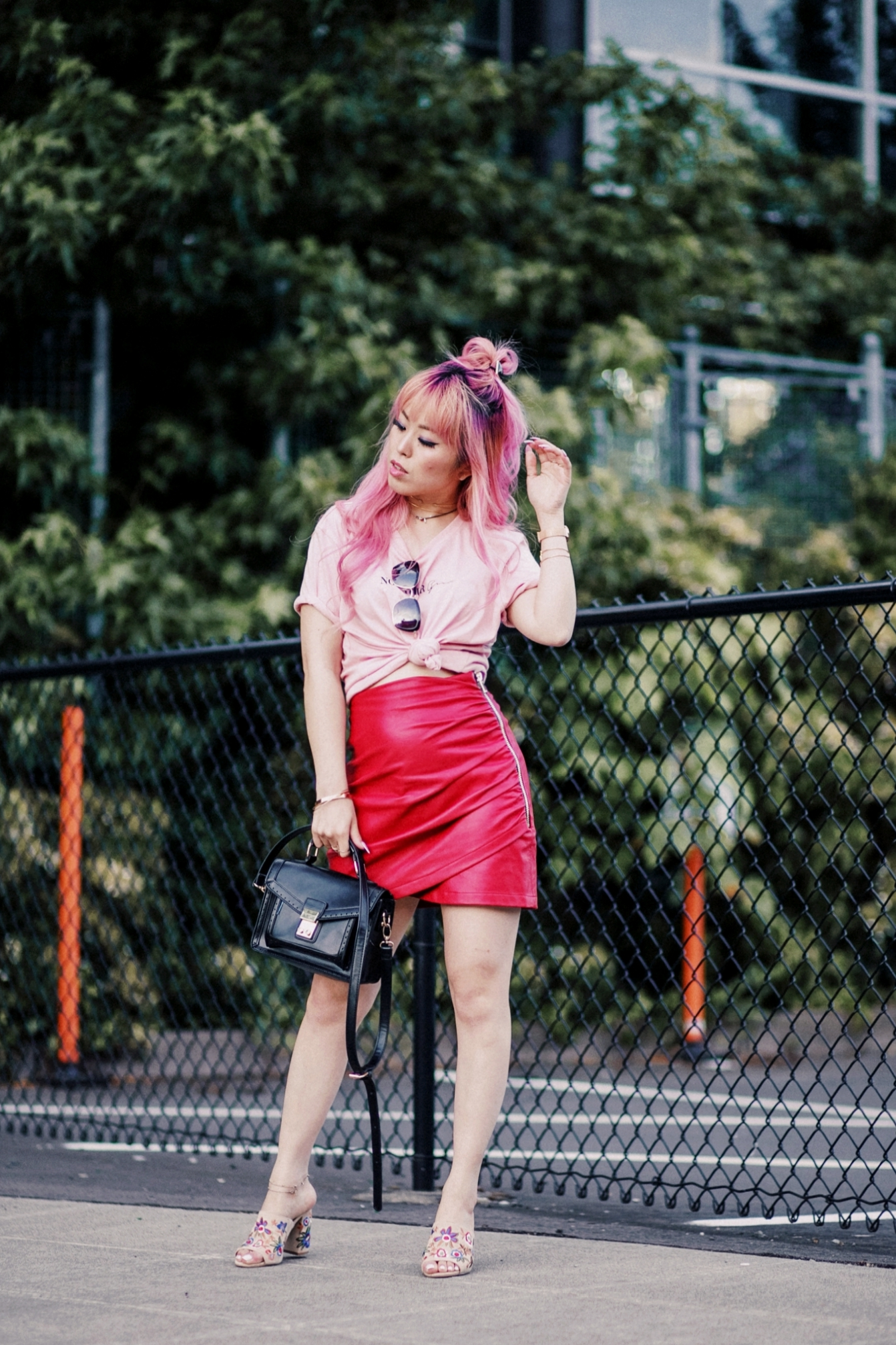NA-KD Pink Not Your Girl Tee_ZARA Red Leather mini skirt_ALSO Embroidered Mules_Daniel Wellington classic petite melrose rose gold black_Pink hair_Half top knot hair_Aikas Love Closet_Seattle Fashion Blogger_Japanese 12