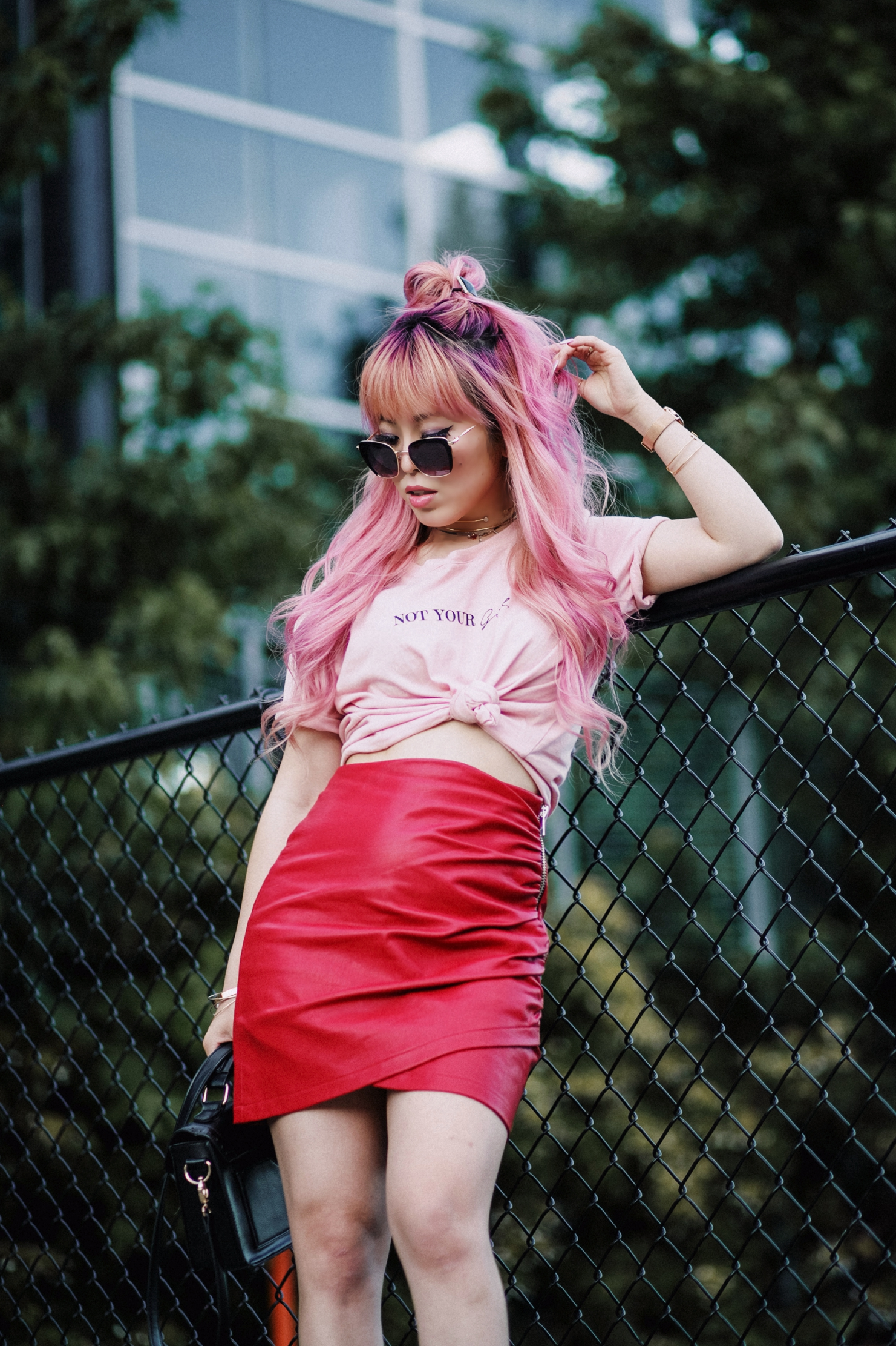 NA-KD Pink Not Your Girl Tee_ZARA Red Leather mini skirt_ALSO Embroidered Mules_Daniel Wellington classic petite melrose rose gold black_Pink hair_Half top knot hair_Aikas Love Closet_Seattle Fashion Blogger_Japanese 13