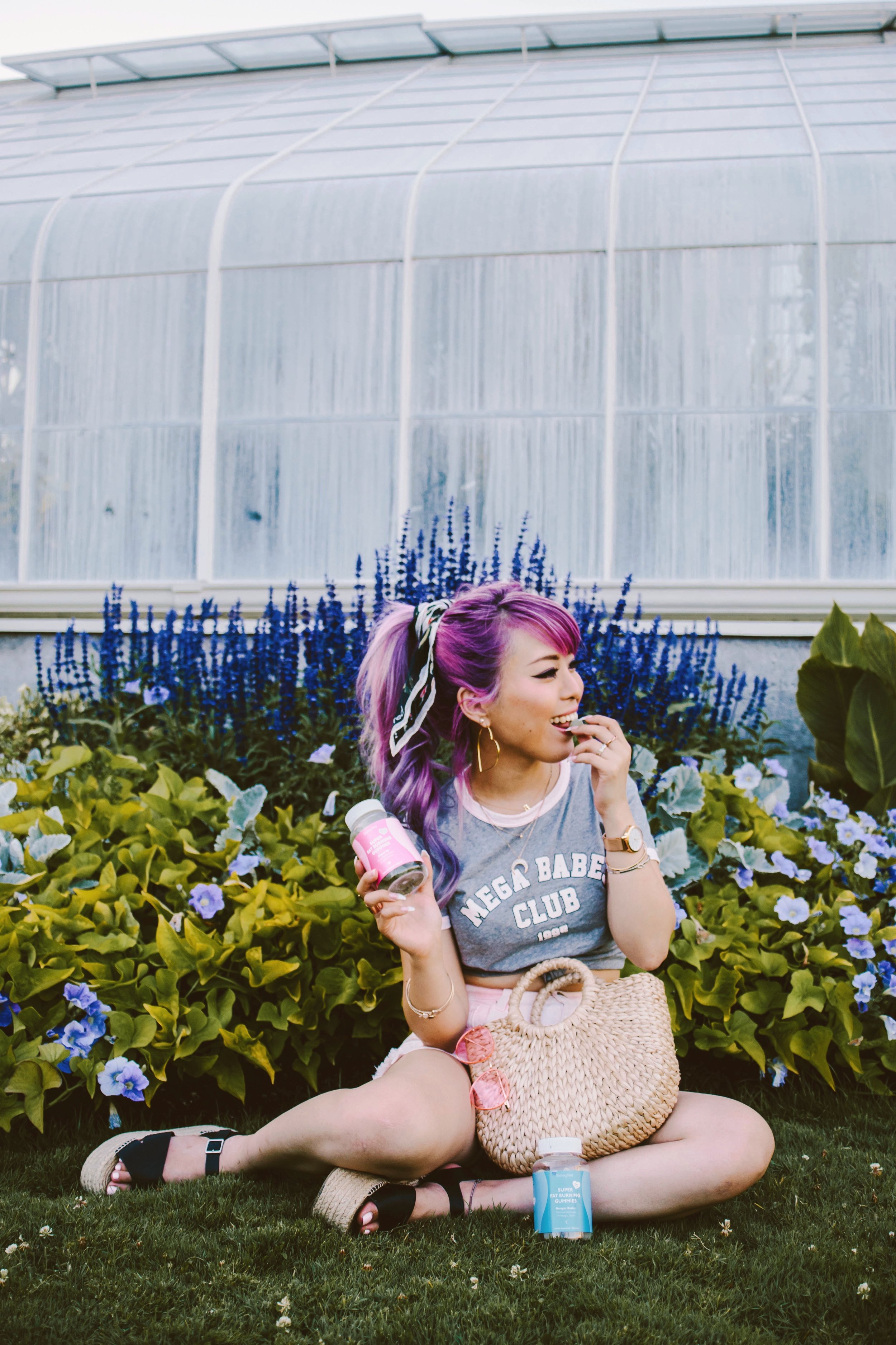 SkinnyMint Super Fat Burning Gummies_Purple Hair_Lifestyle_healthy-ootd-pony tail-summer-happy-supliment-fut burning-weight loss-style blogger-seattle fashion blogger-japanese-colored hair 5